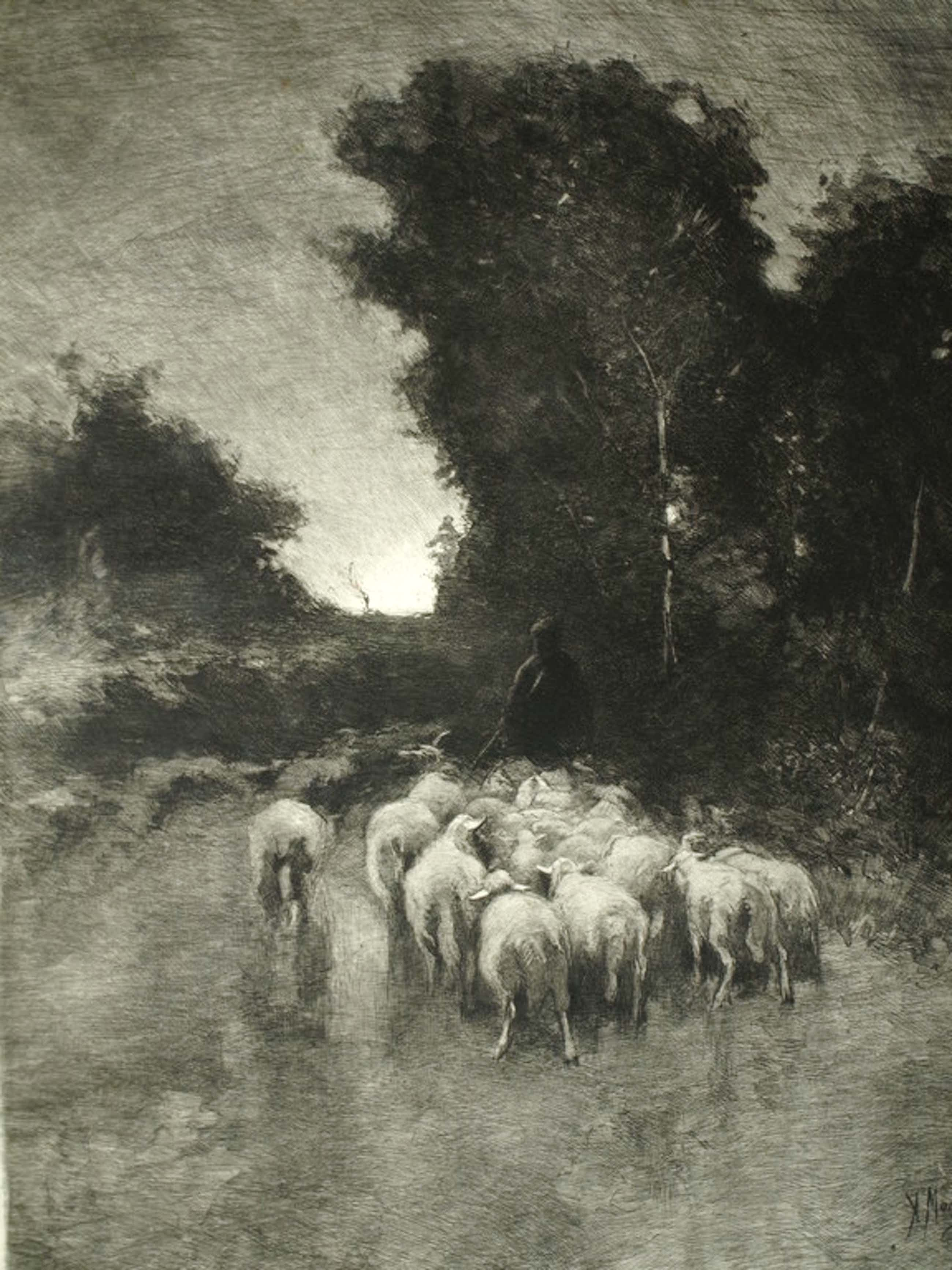 Anton Mauve  en Carel Lodewijk Dake – Ets – Schaapskudde – Gesigneerd – ca 1885 kopen? Bied vanaf 125!