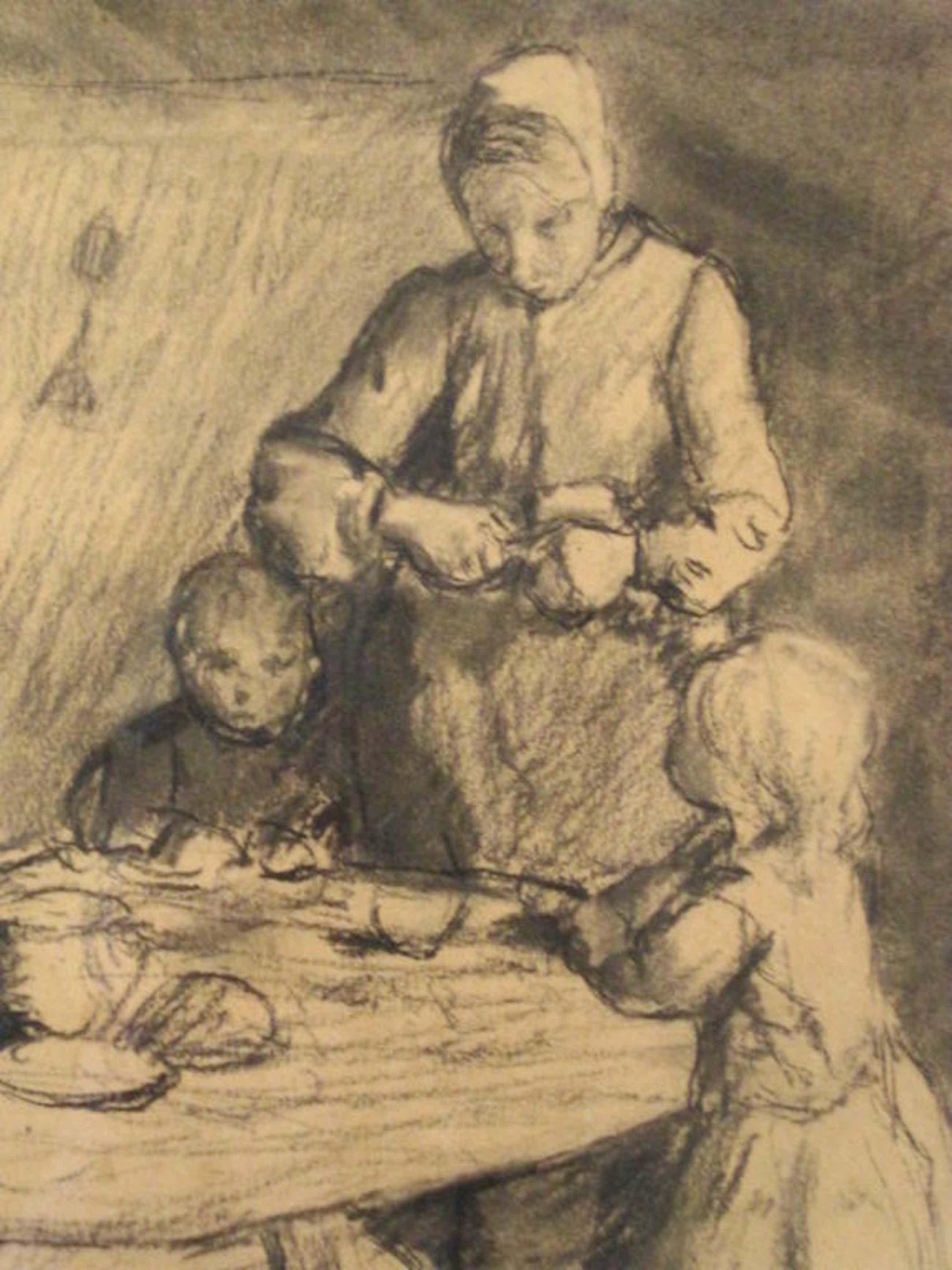 """Hein Kever 1854-1922 """"mama schilt appel"""" houtskooltekening ca. 1900 gesigneerd  kopen? Bied vanaf 160!"""