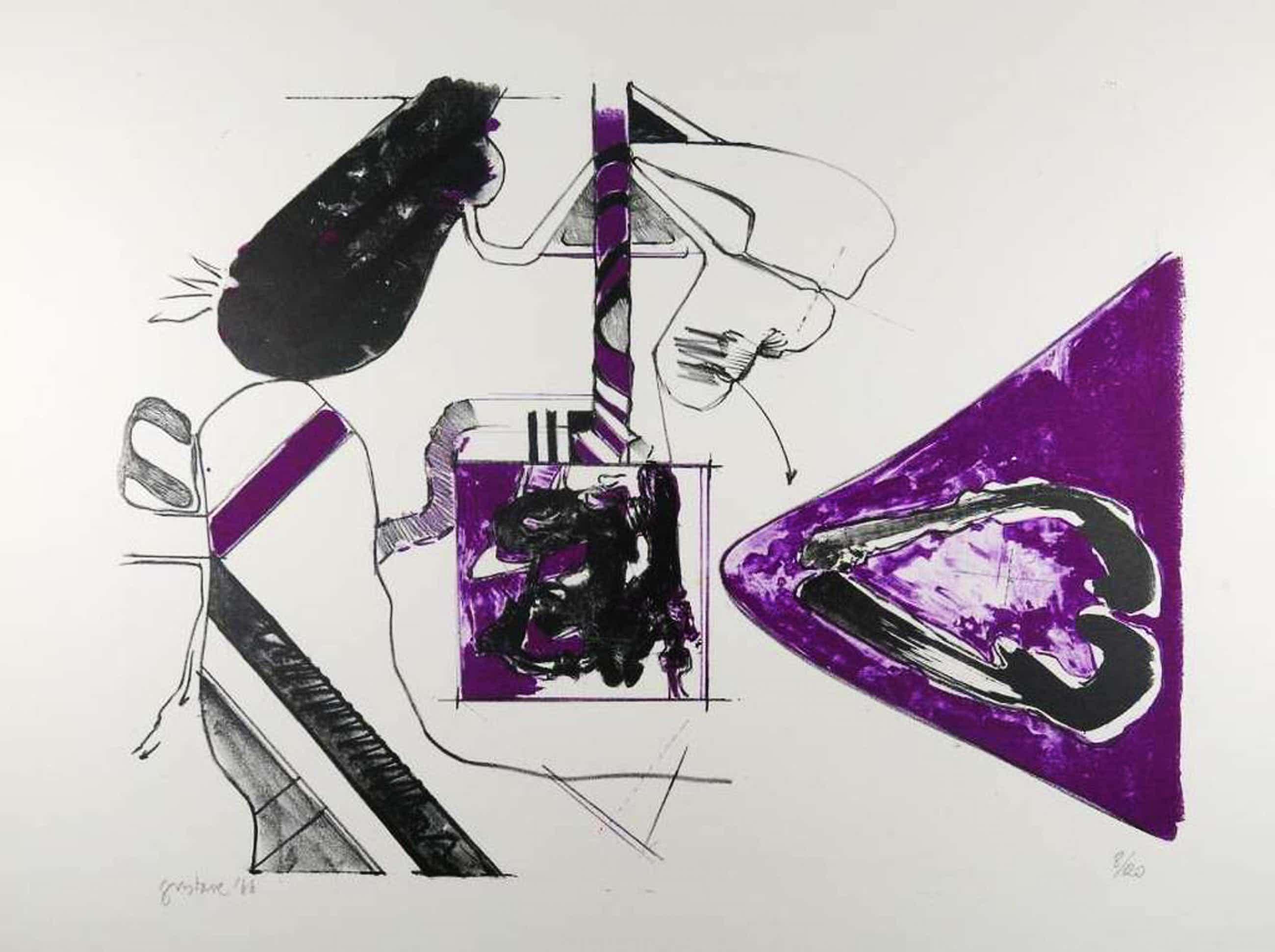 Gustave Asselbergs: Litho, Compositie in paars kopen? Bied vanaf 50!