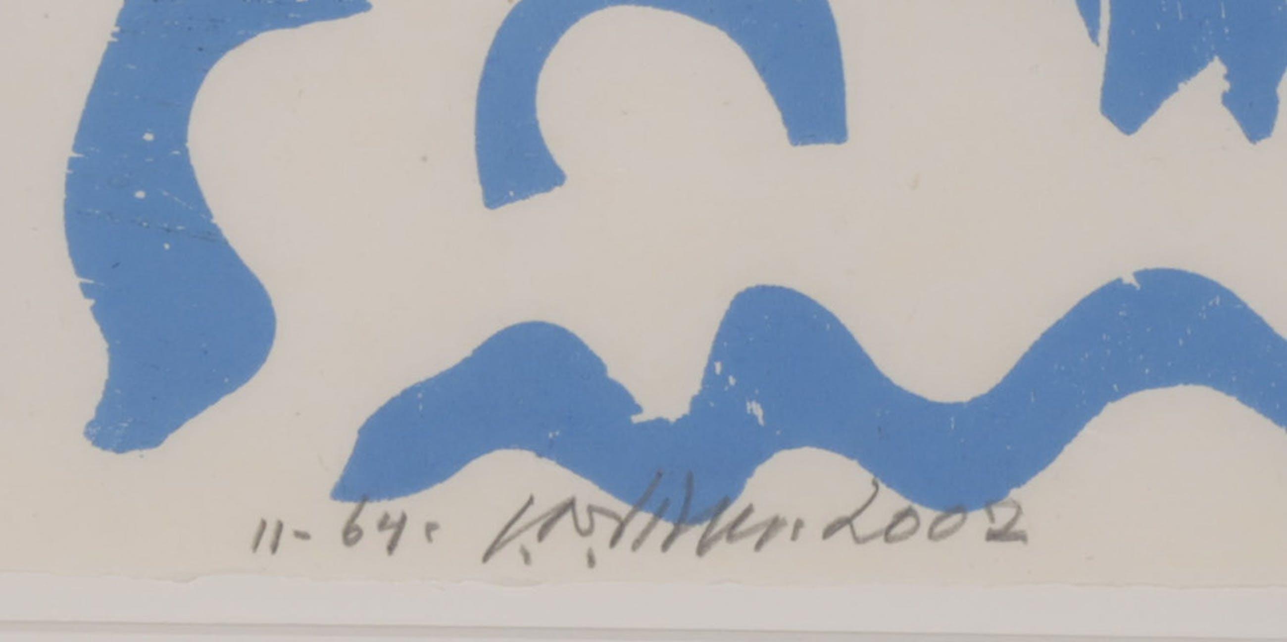 Carel Visser: Houtsnede op Japans papier, Z.T. (Blauw) - Ingelijst kopen? Bied vanaf 100!