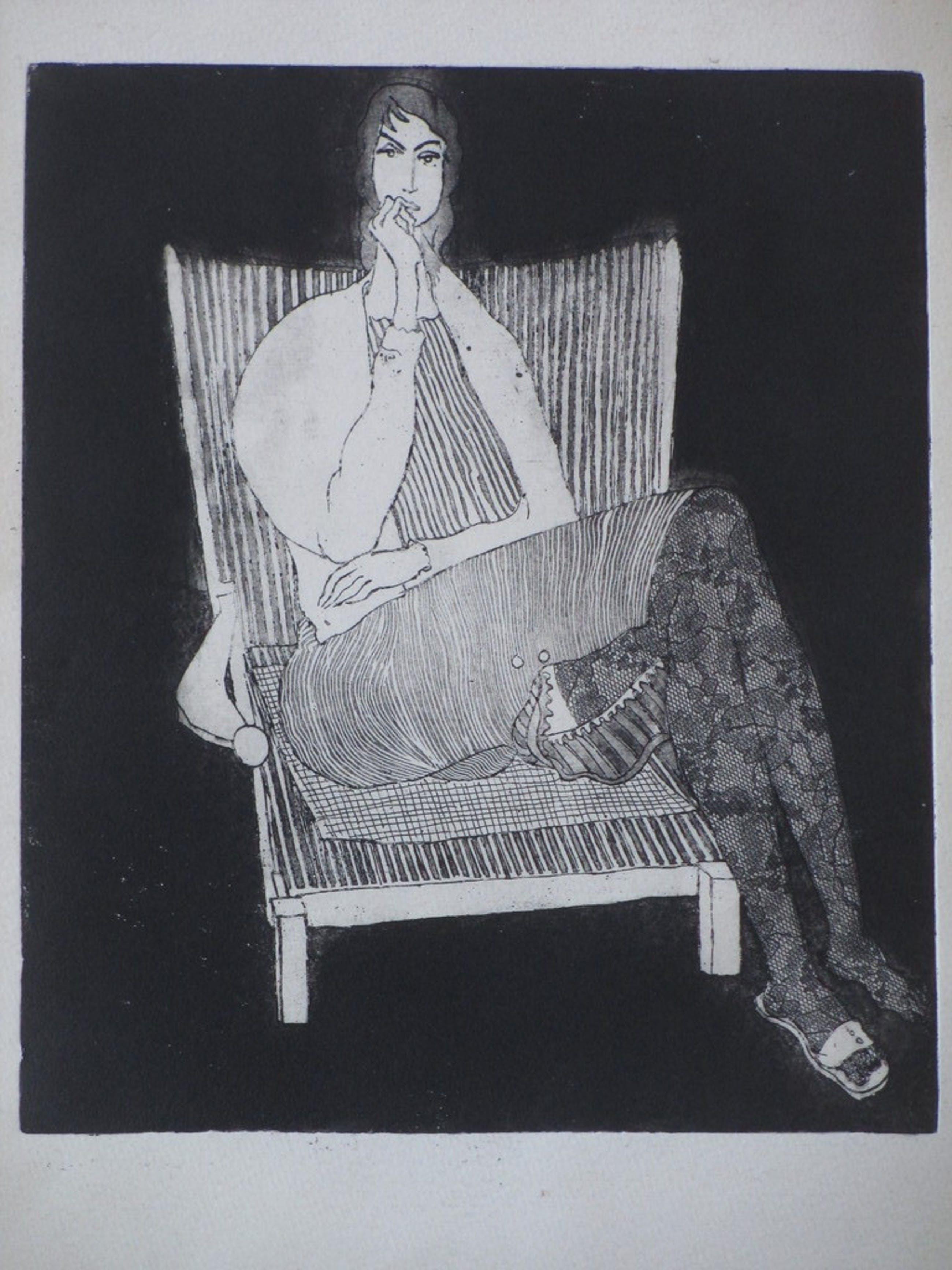 Theo Beerendonk, Vrouw in stoel, Ets kopen? Bied vanaf 40!