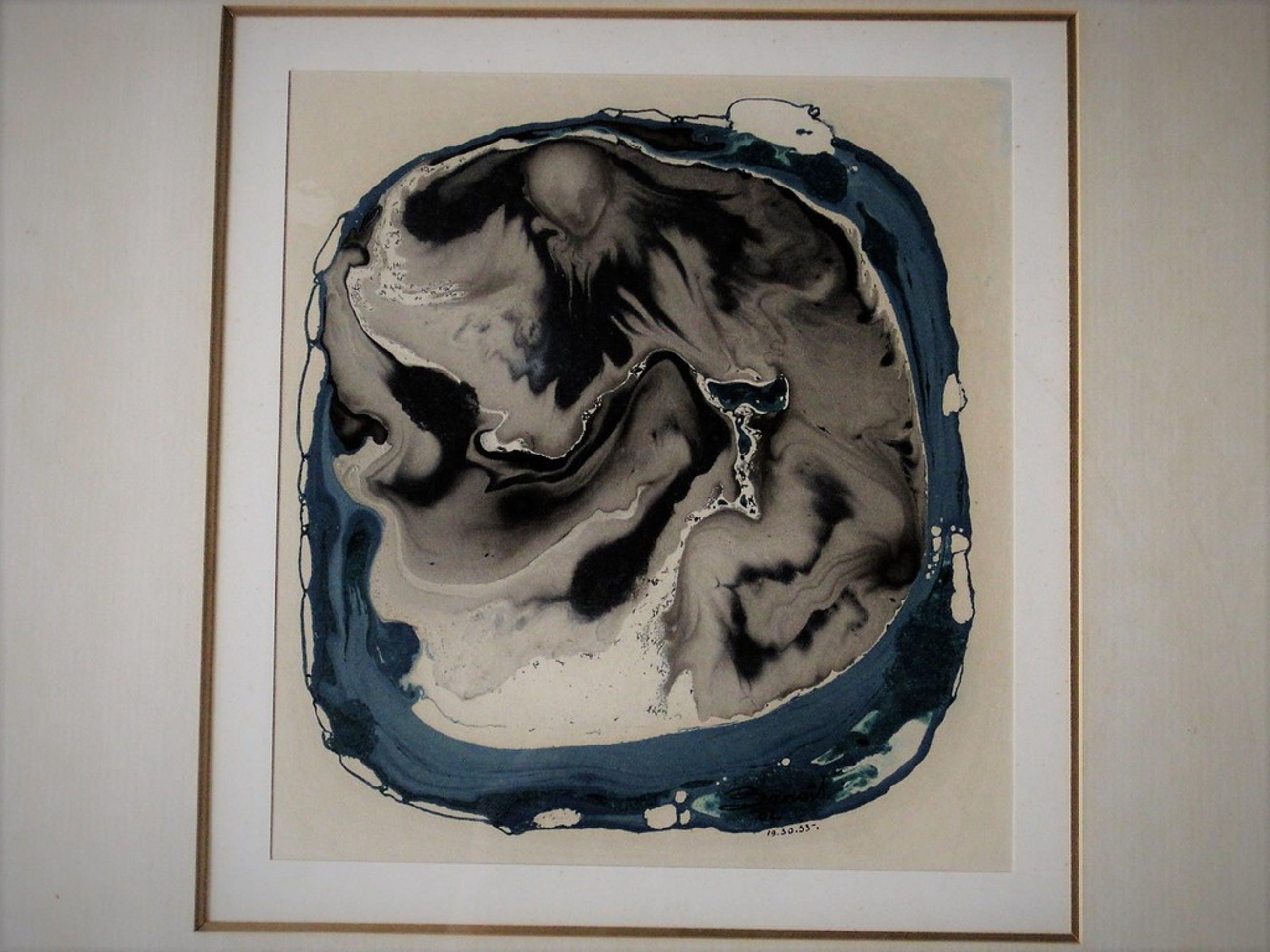"""Boeiende abstracte aquarel """"Genesis 19.30.33"""" gesigneerd Benoit 1962  kopen? Bied vanaf 1!"""