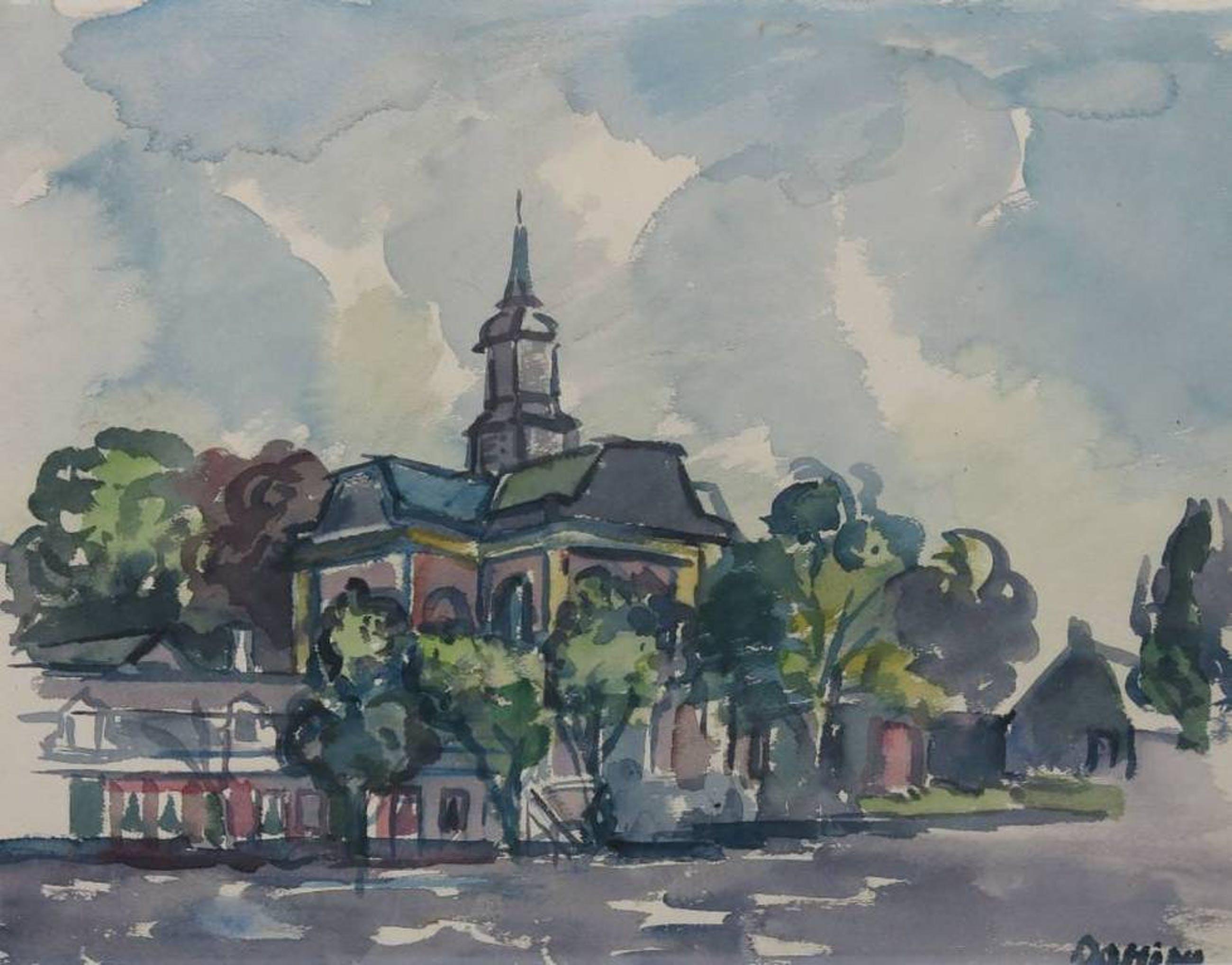 Jeanne Bieruma Oosting: Aquarel, Stadsgezicht met kerktoren - Ingelijst kopen? Bied vanaf 250!