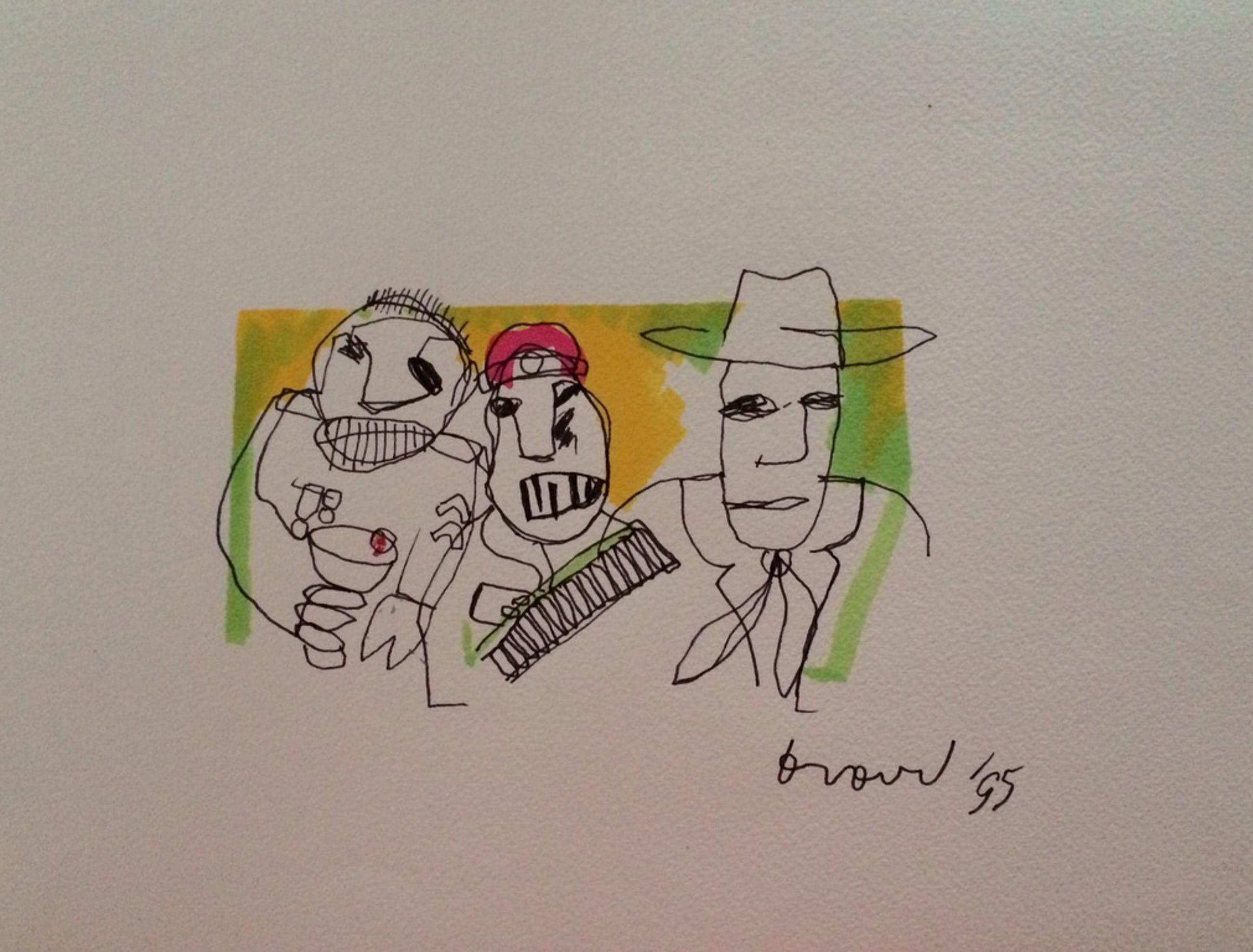 HERMAN BROOD, originele tekening op papier 'Three Man' kopen? Bied vanaf 1!