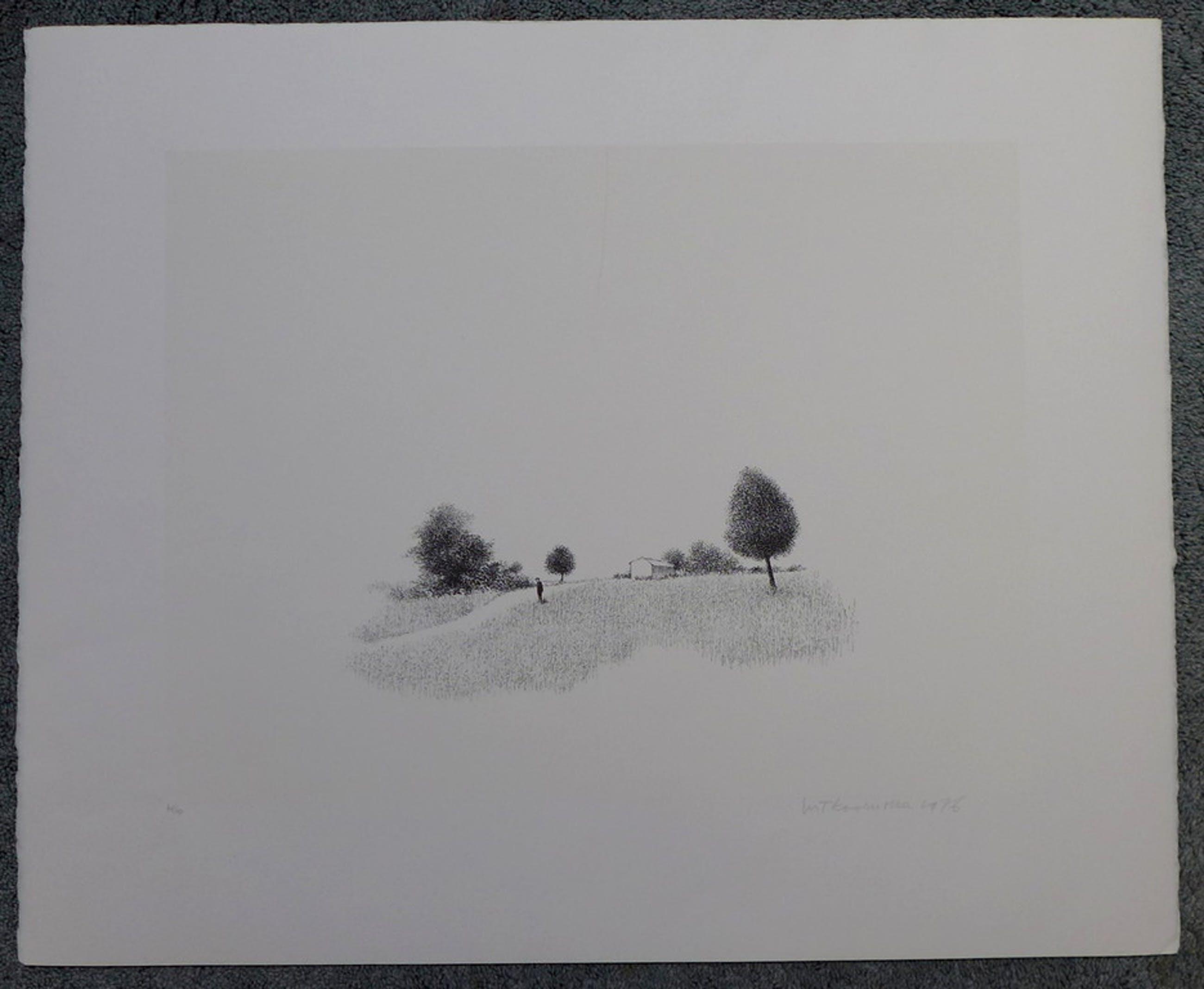 Metten Koornstra, litho uit 1976 figuur in landschap oplagenummer 48/90  kopen? Bied vanaf 50!