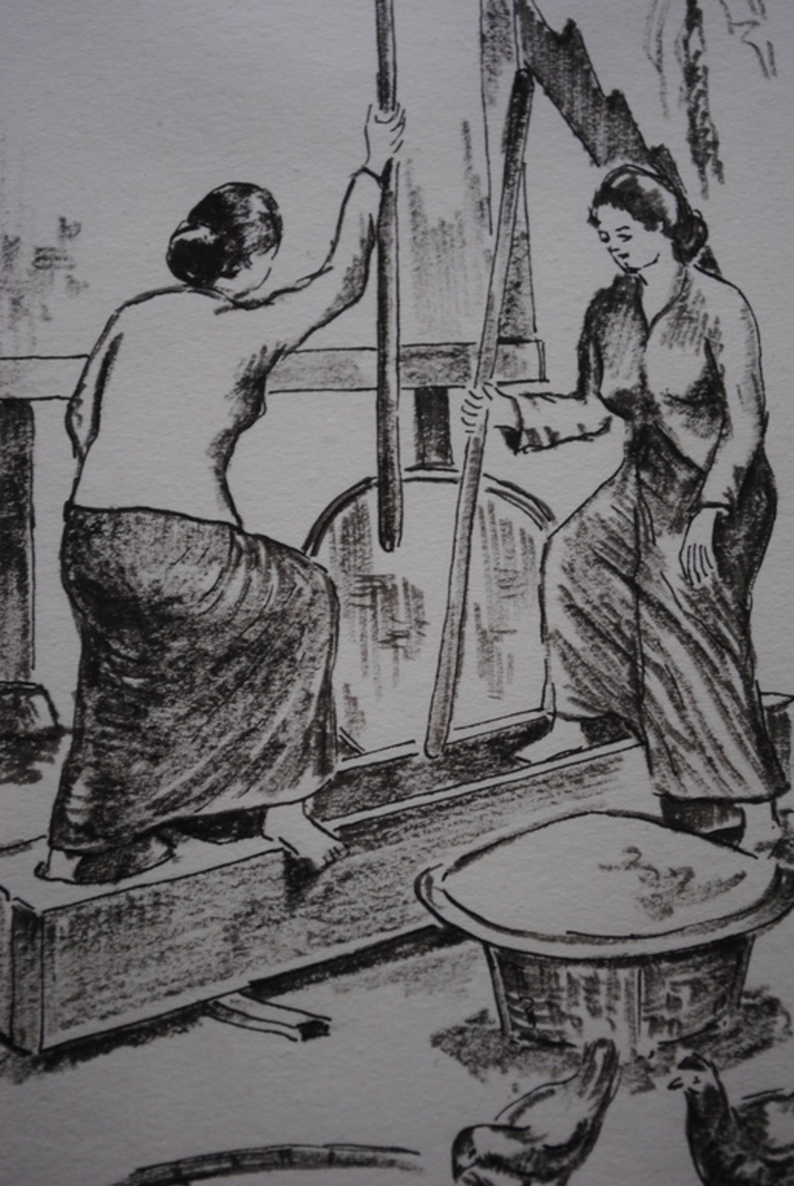 Hasan Djaafar - Goache - Werkende vrouwen kopen? Bied vanaf 50!