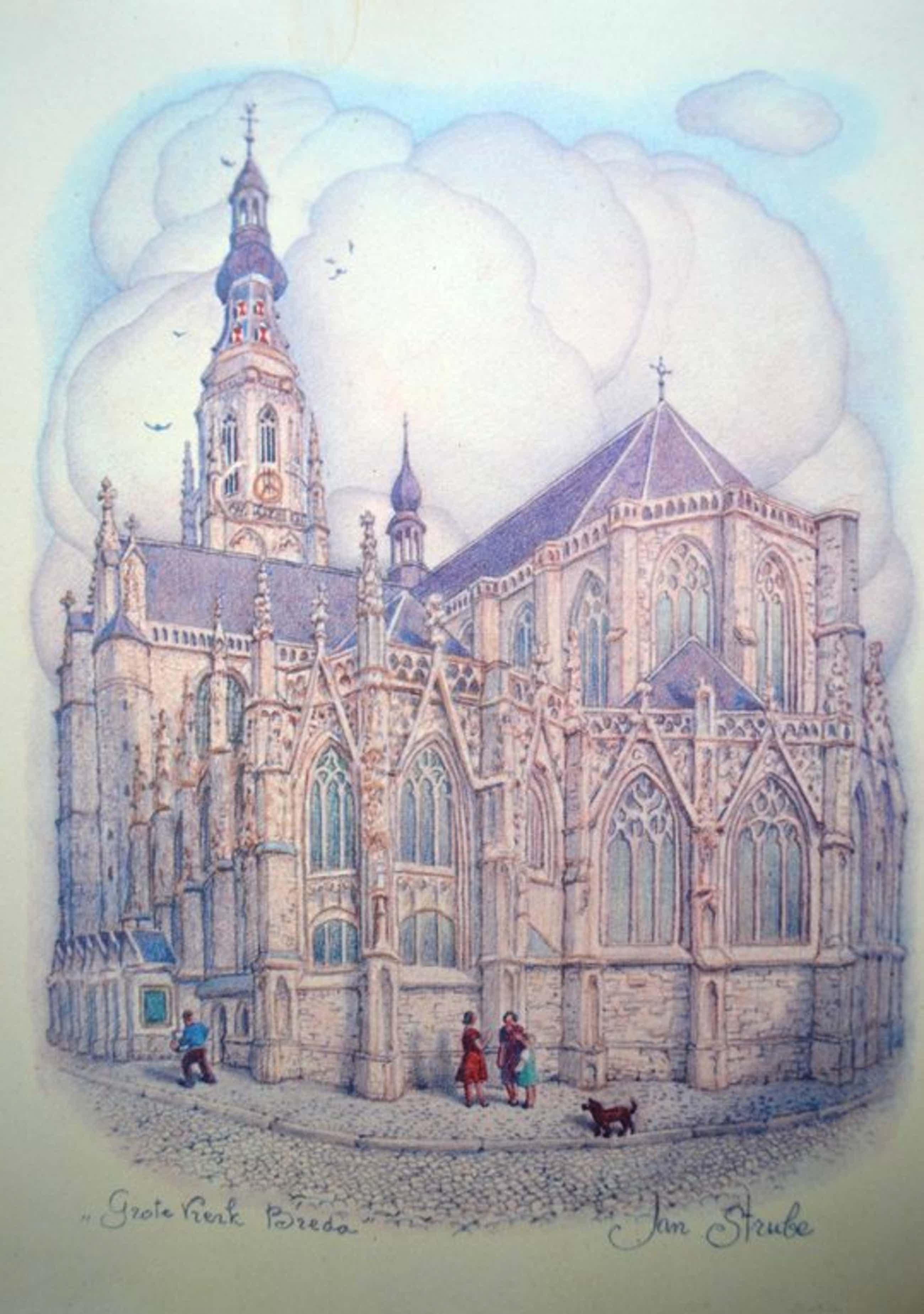 Prent van Jan Strube - Grote kerk Breda kopen? Bied vanaf 45!
