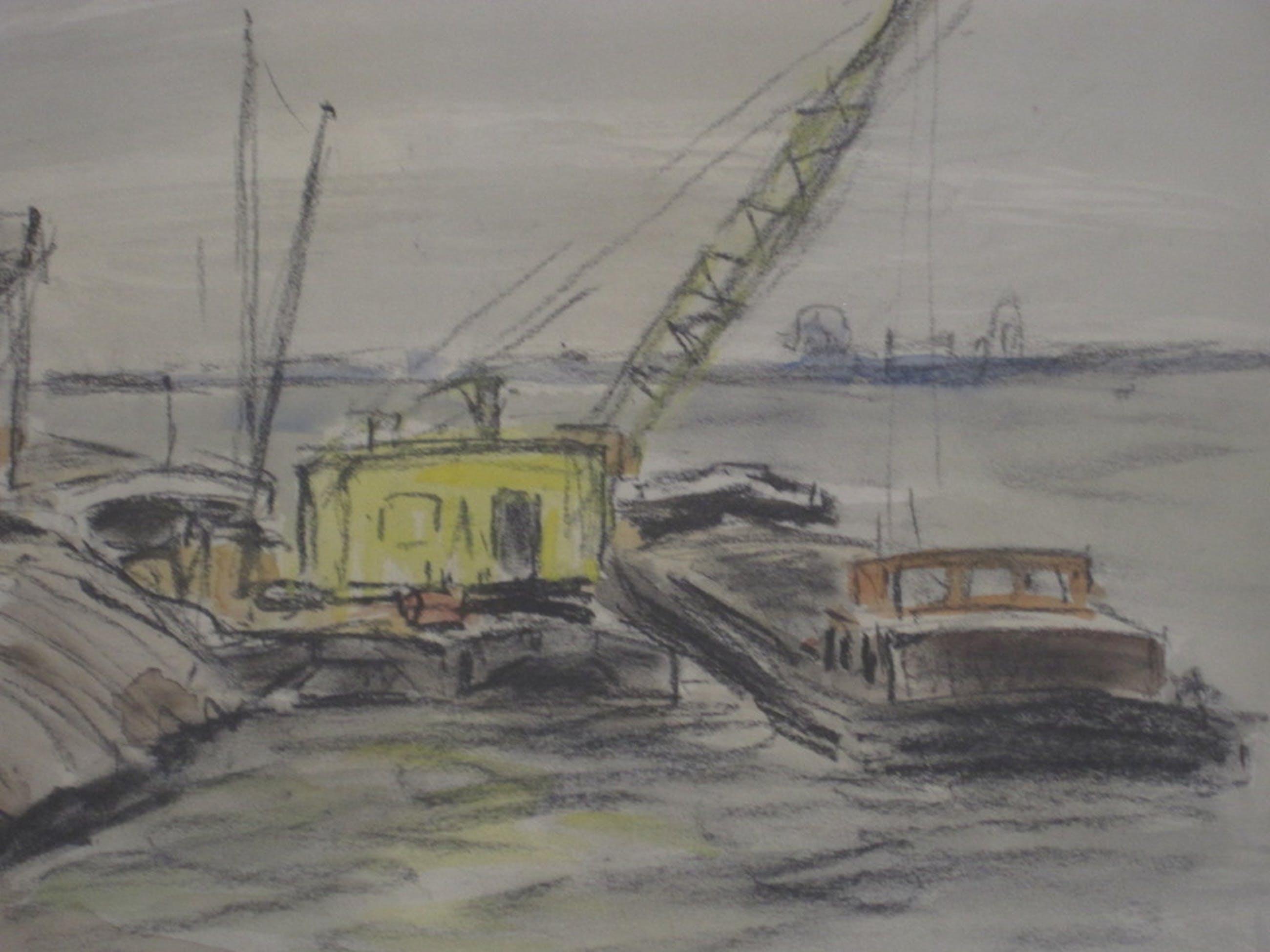 """Jacob Bijtel 1893-1983 pastel """"aanleg maasvlakte Rotterdam""""  kopen? Bied vanaf 25!"""