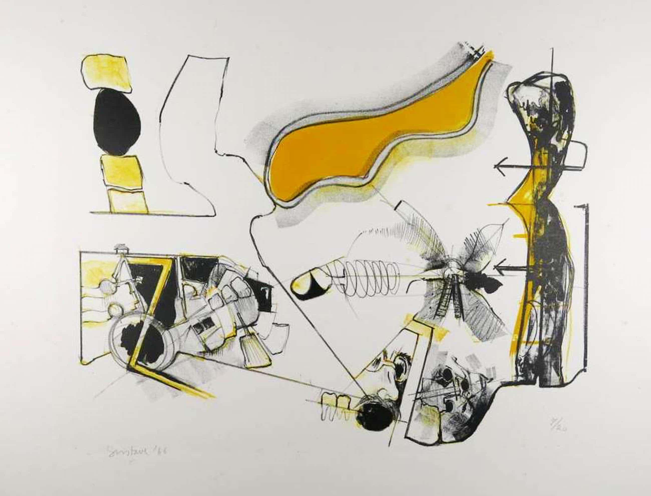 Gustave Asselbergs: Litho, Compositie in geel kopen? Bied vanaf 50!