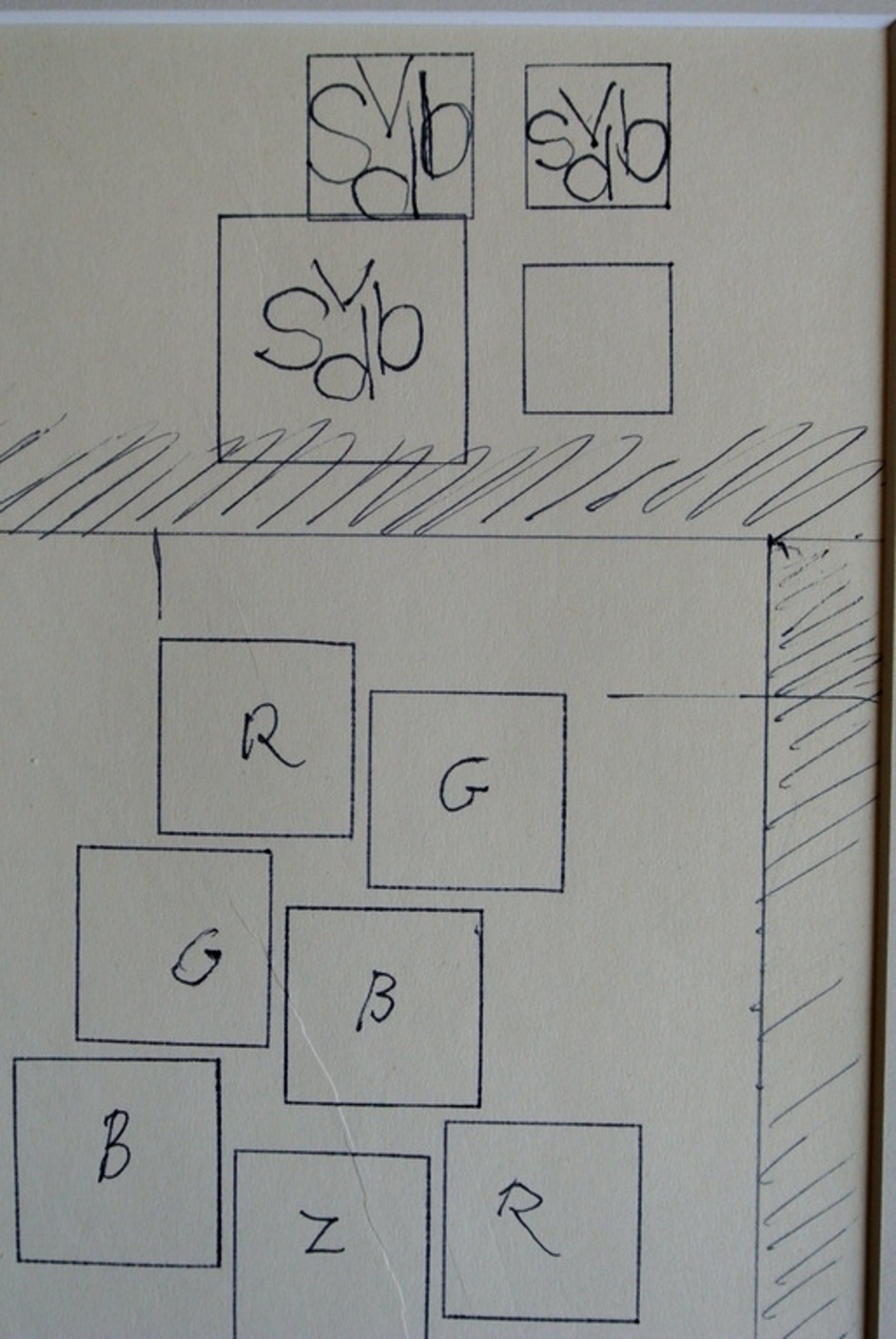 Siep van den Berg. -Het ontstaan van een Doek en Logo- Pentekening. 1980. kopen? Bied vanaf 69!