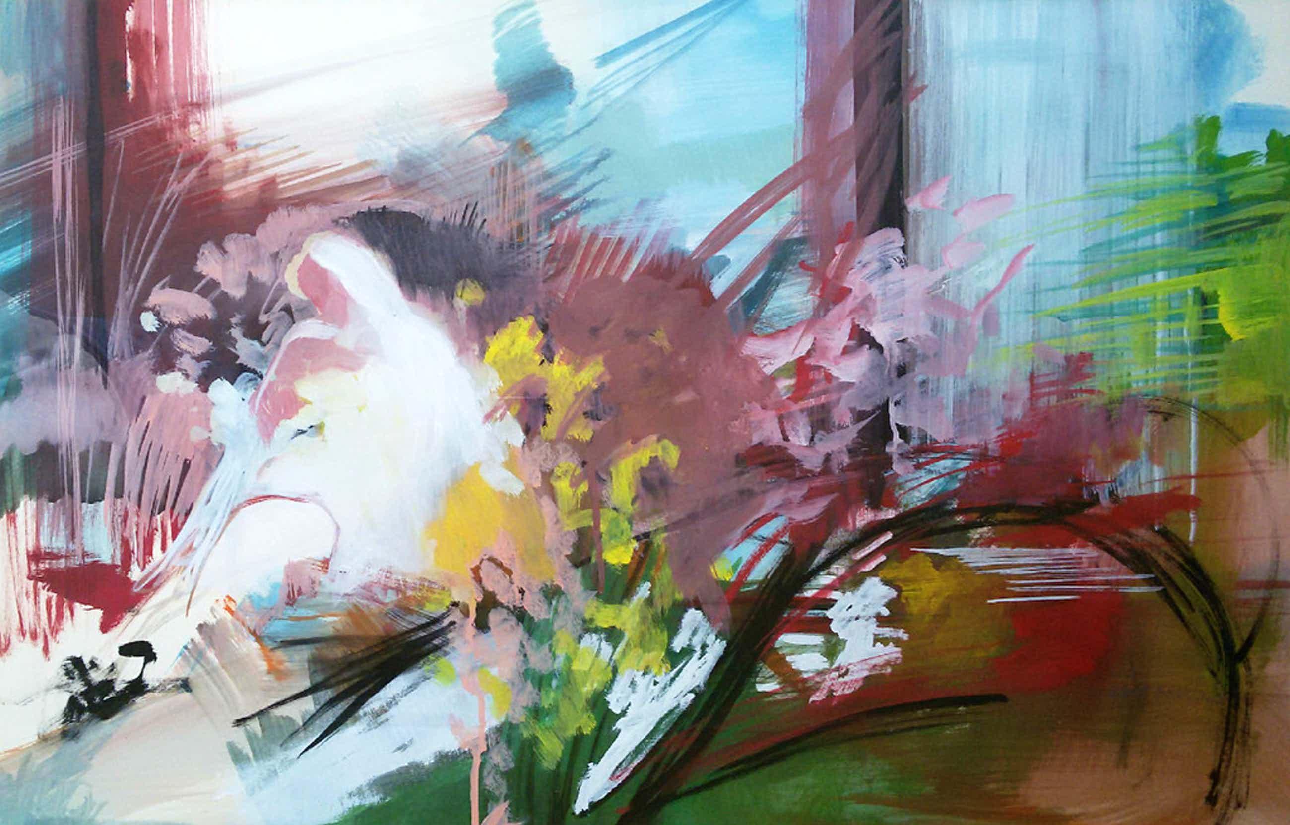 Bert Bruijn - Figuratief abstract, gouache (ingelijst, groot) kopen? Bied vanaf 125!