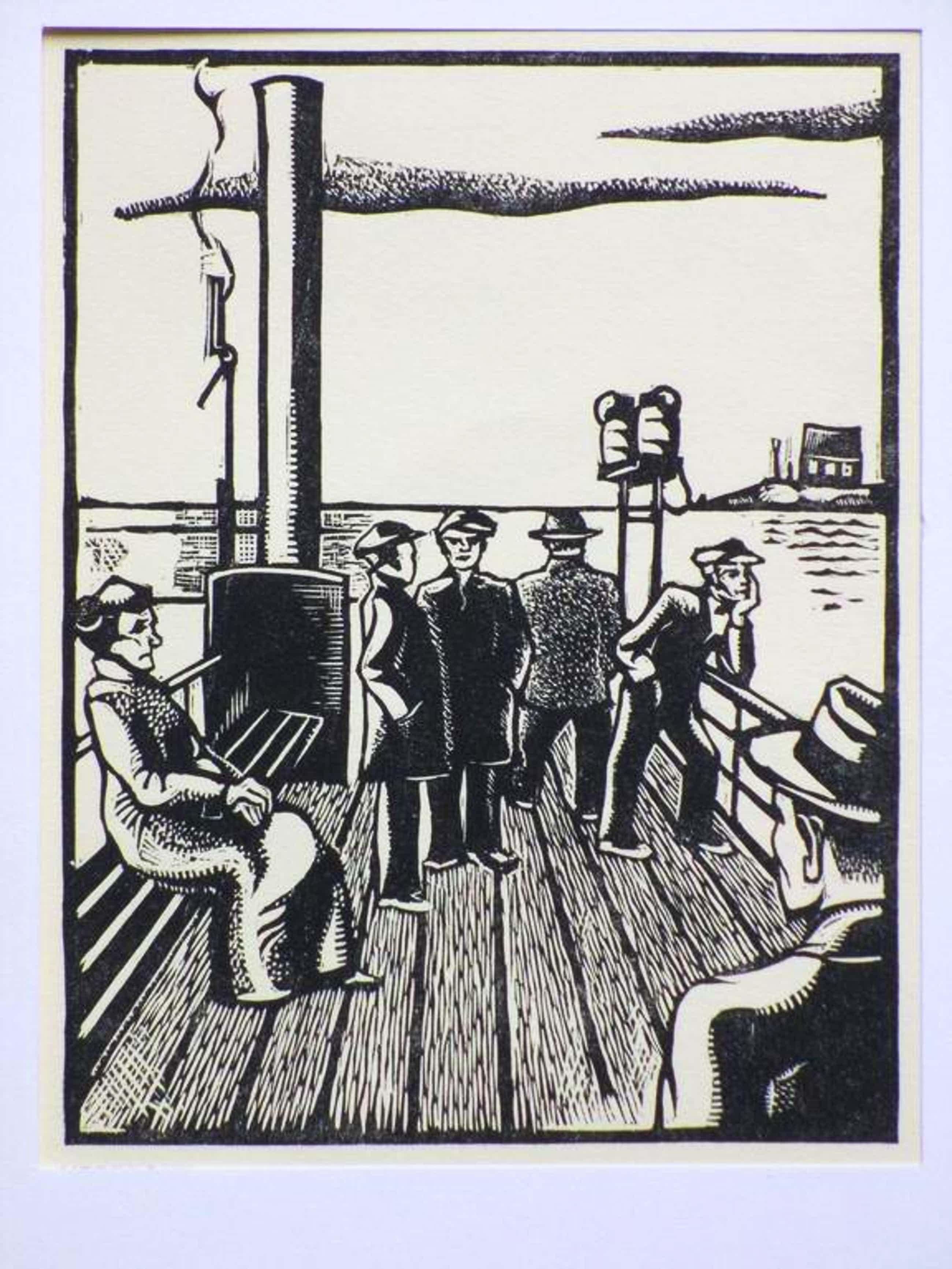 Wim Oepts, Veerpont, Houtsnede 1927 kopen? Bied vanaf 35!