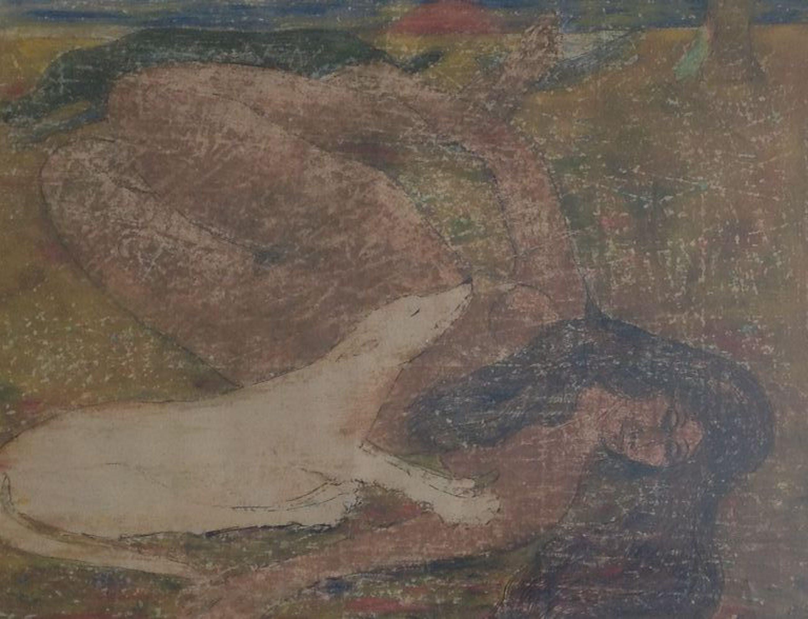 Ger Langeweg, aquarel, dame naakt met 2 honden rustend in landschap, 1968 kopen? Bied vanaf 200!