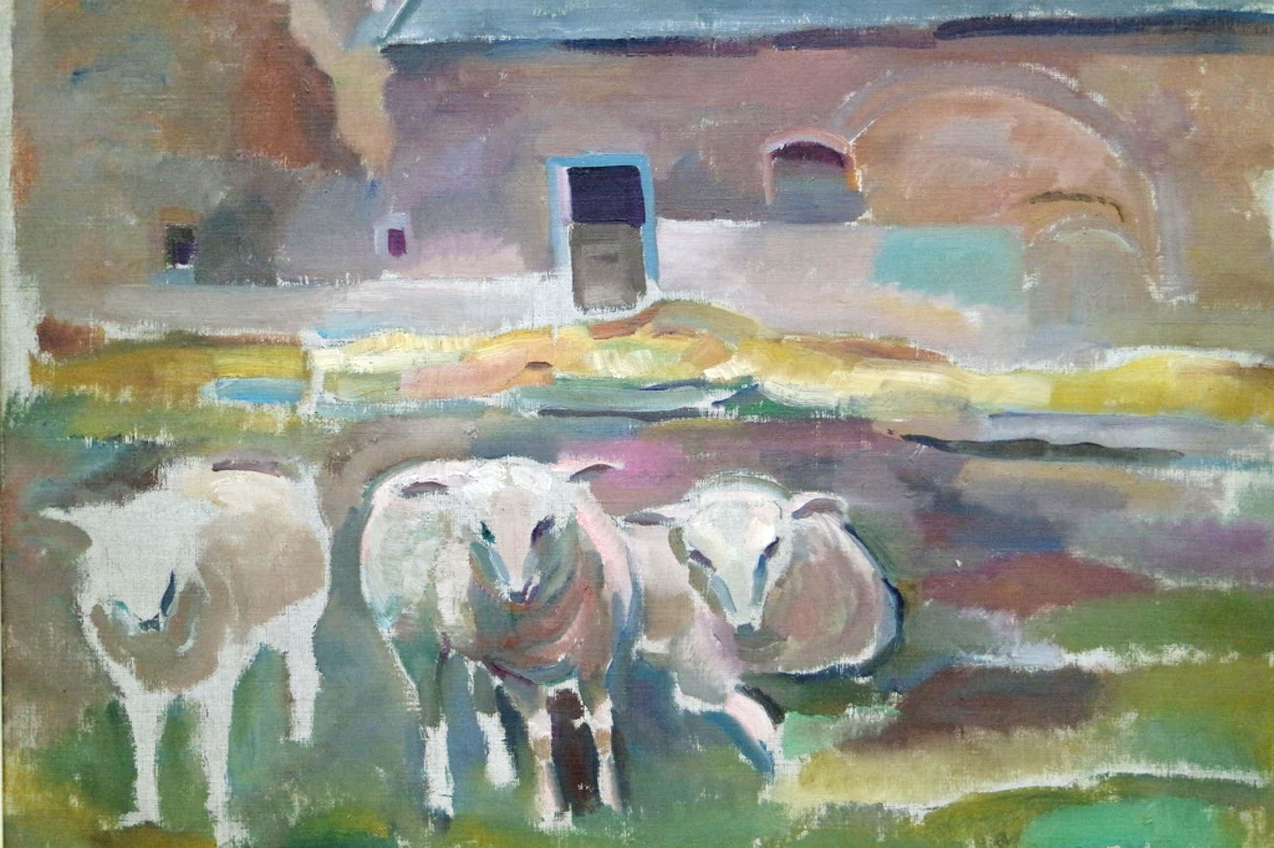 Albert van Dalsum (1889-1971) - olieverf op doek - 3 schapen voor een boerderij kopen? Bied vanaf 125!