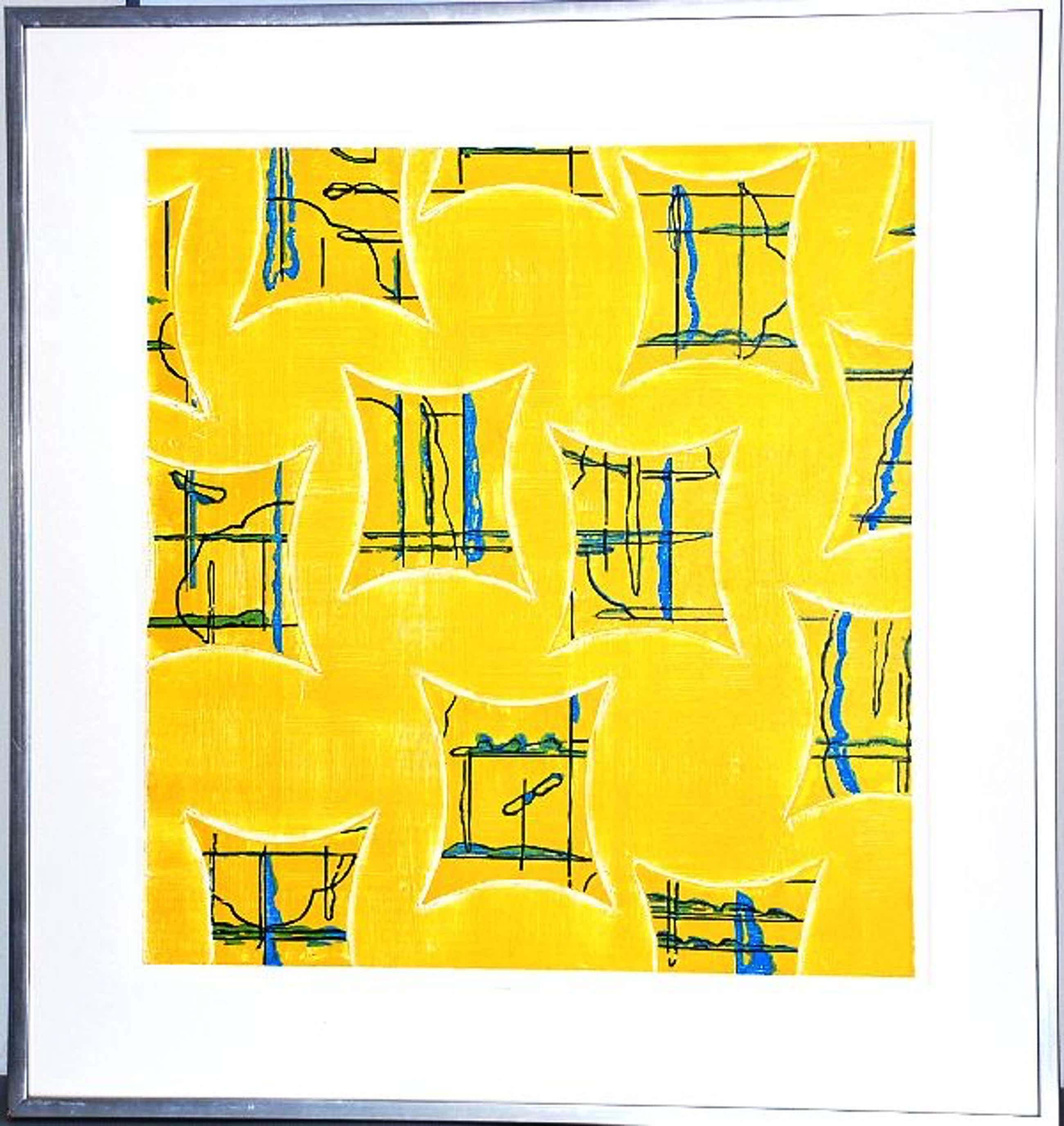 Kees Slegt: Grote Zeefdruk. Composities op geel. kopen? Bied vanaf 80!