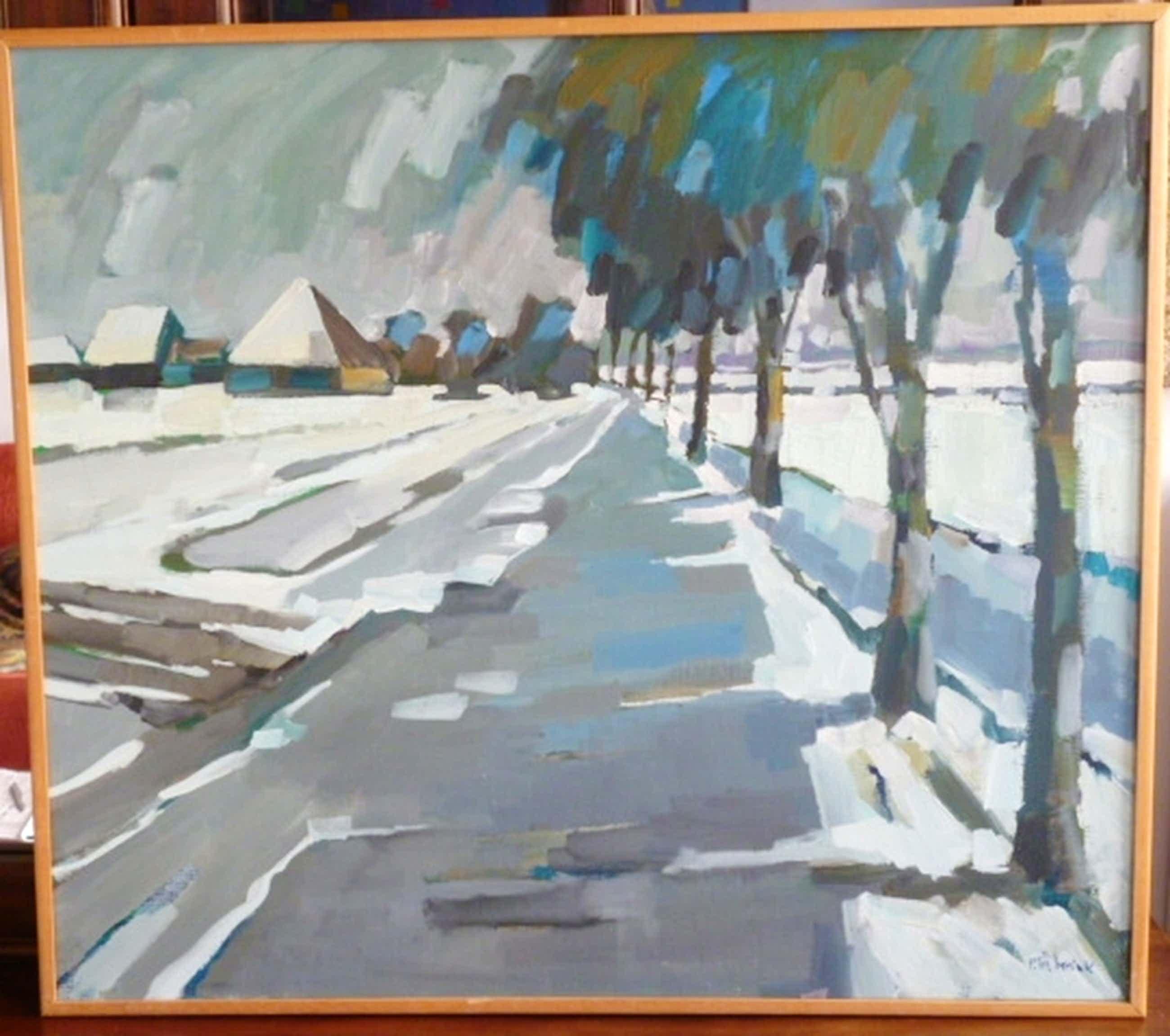 Bob Immink - olieverf - Noordhollands landschap in de winter kopen? Bied vanaf 250!