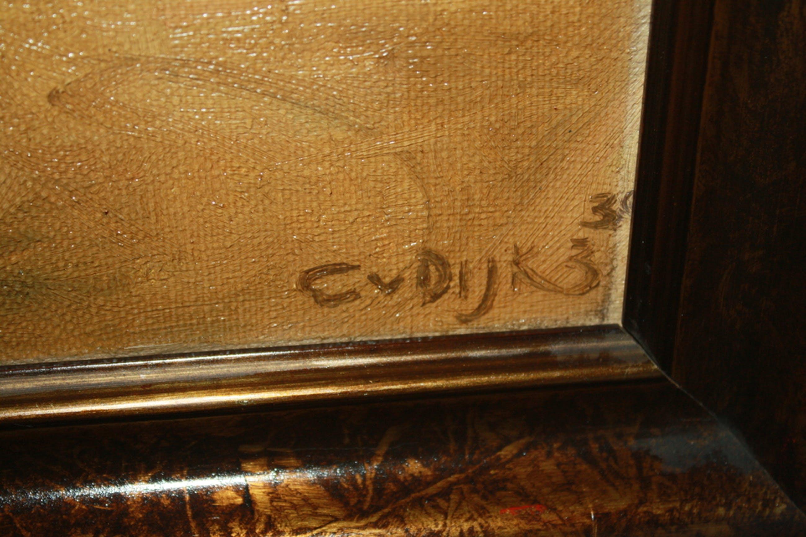 TULPEN IN GLAZEN VAAS  - ART DECO 1933 door C VAN DIJK kopen? Bied vanaf 1!