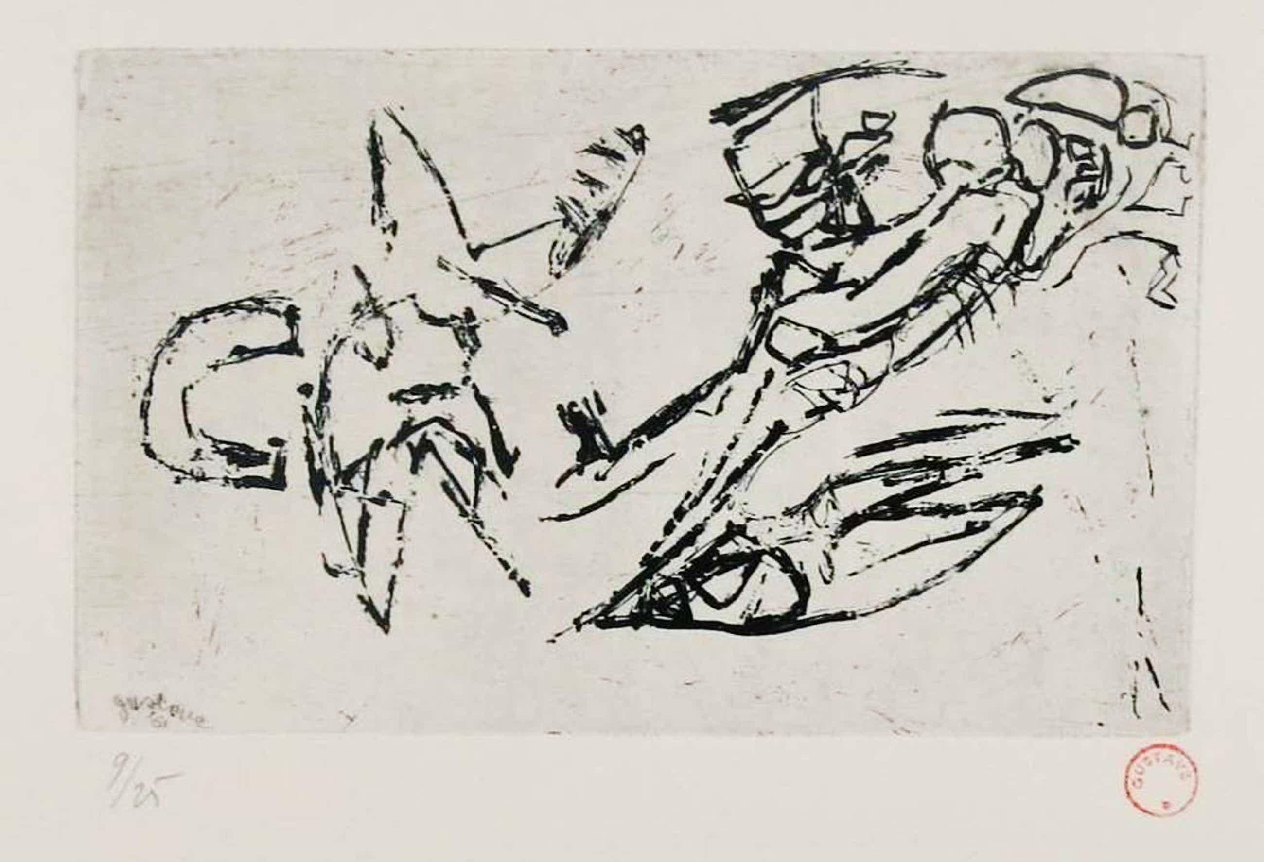 Gustave Asselbergs: Ets, Abstracte compositie III kopen? Bied vanaf 80!