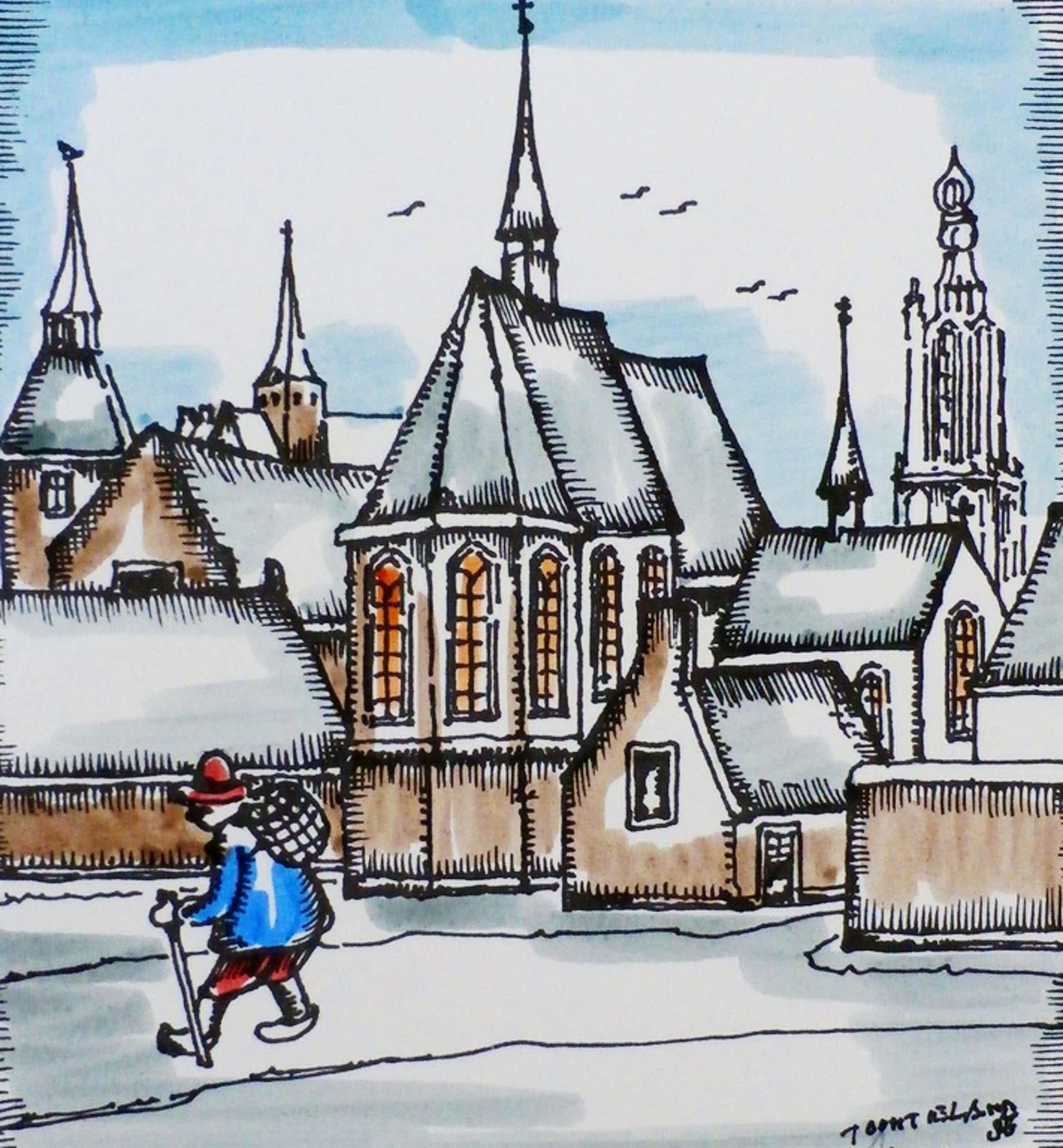 Toon Tieland - Handingekleurde litho: Zalig Kerstfeest Gezond 1988 - 1987 kopen? Bied vanaf 75!