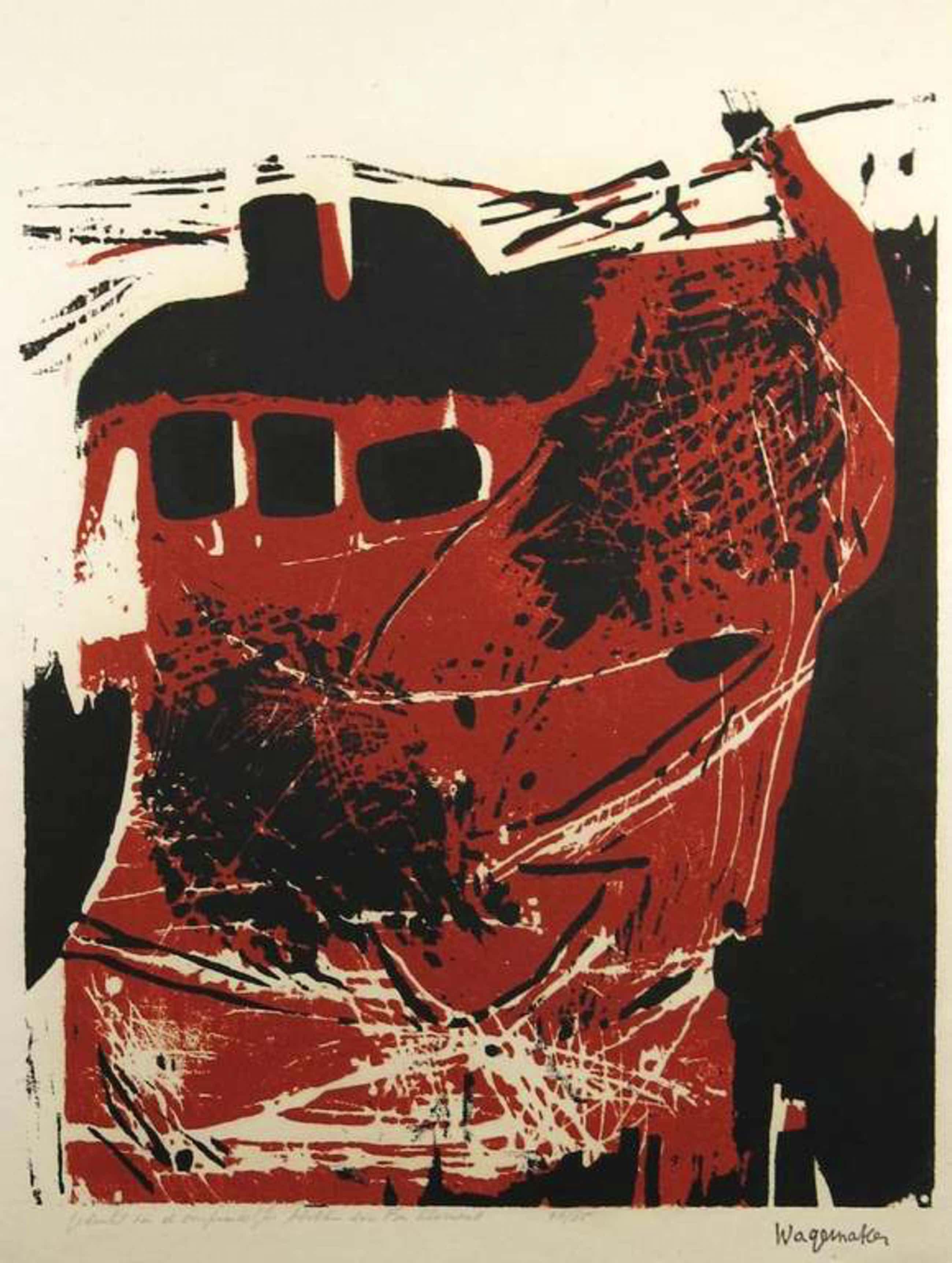 Jaap Wagemaker: Houtsnede, Compositie in twee kleuren (gedrukt door Fon Klement) kopen? Bied vanaf 35!