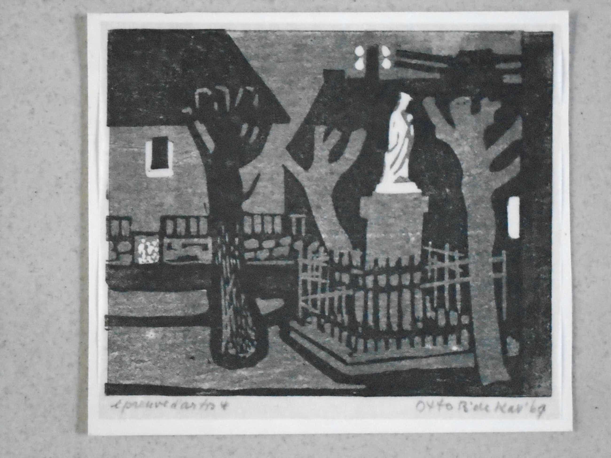 Otto B. de Kat - kleurenlinosnede - Dorpsplein St. Hippolyte kopen? Bied vanaf 65!