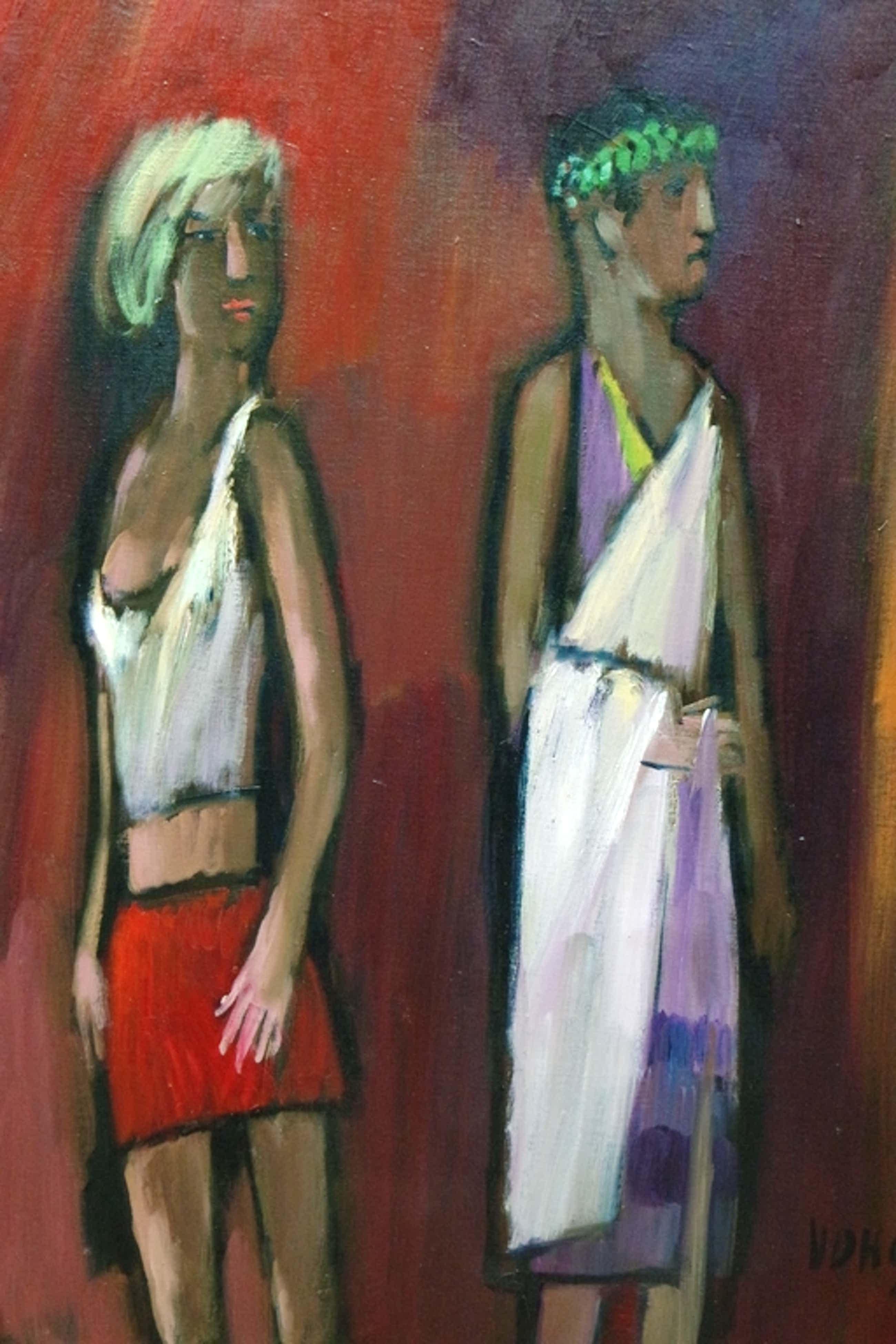 Theo van der Horst (1921-2003) - olieverf op doek - 2 figuren kopen? Bied vanaf 199!