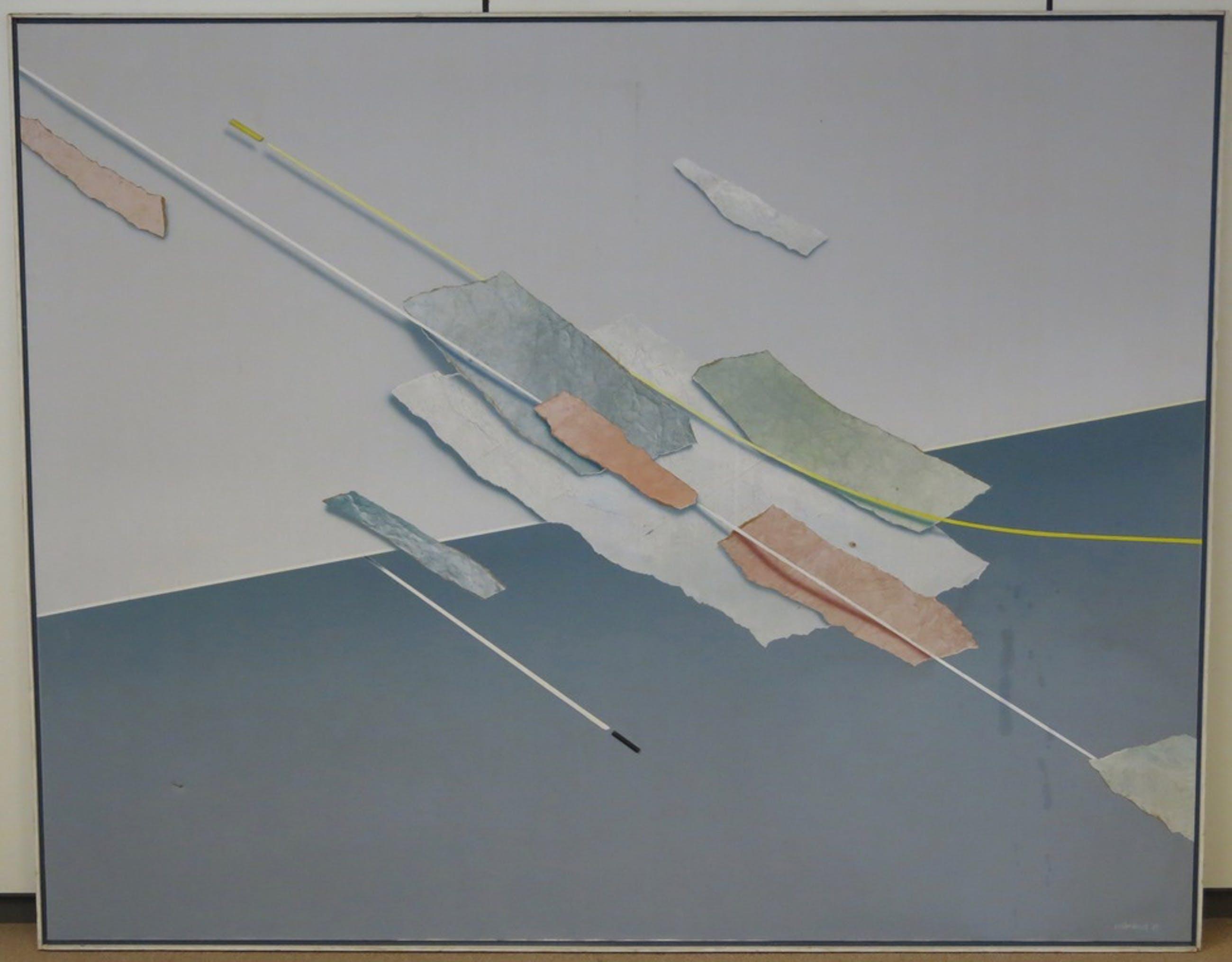 Gerard Vollenbrock: Acryl en collage op doek, Compositie II - Ingelijst (Groot) kopen? Bied vanaf 1!
