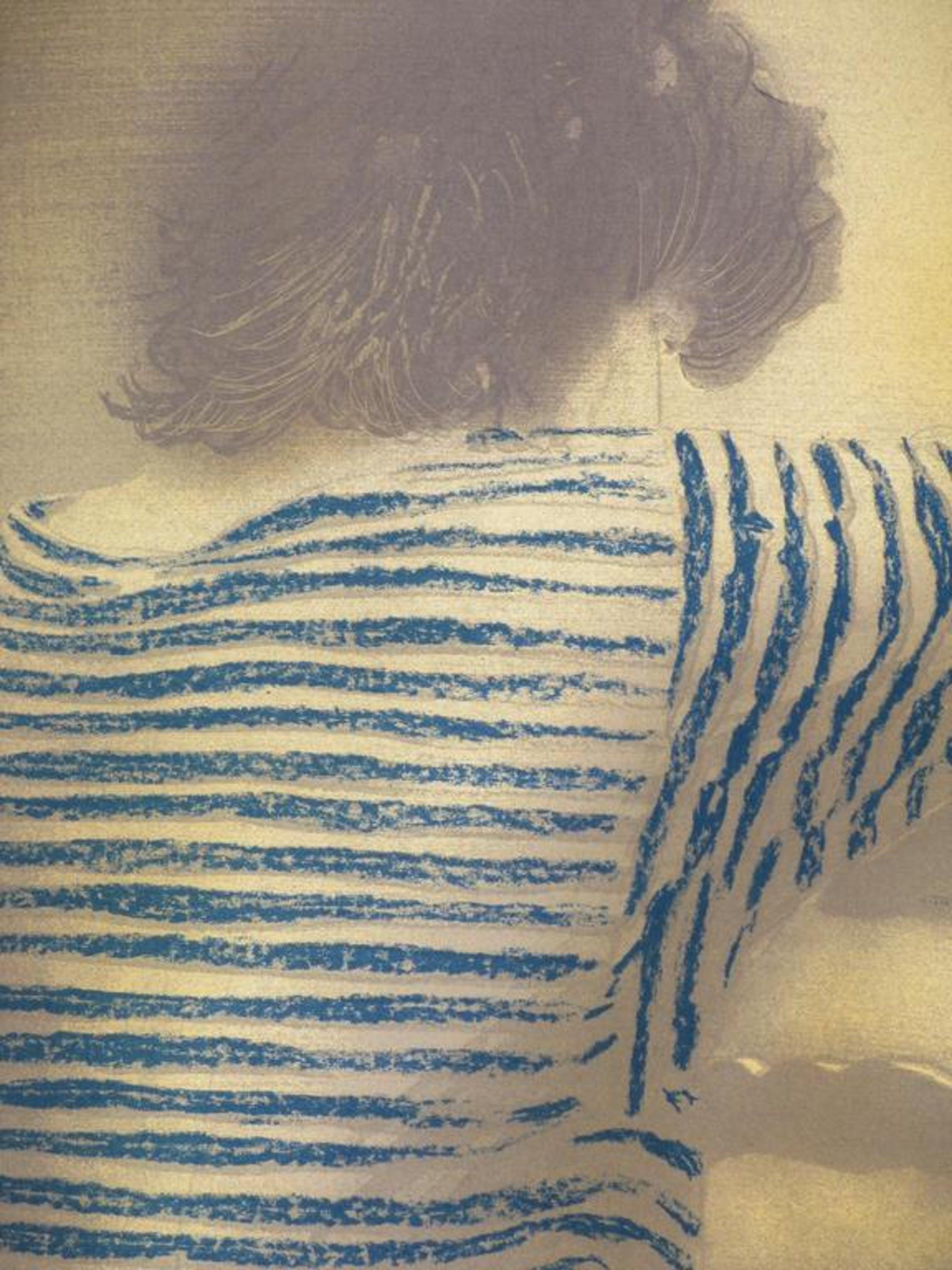 Hans van Horck, Vrouw met blauwe trui op stoel, Zeefdruk kopen? Bied vanaf 55!