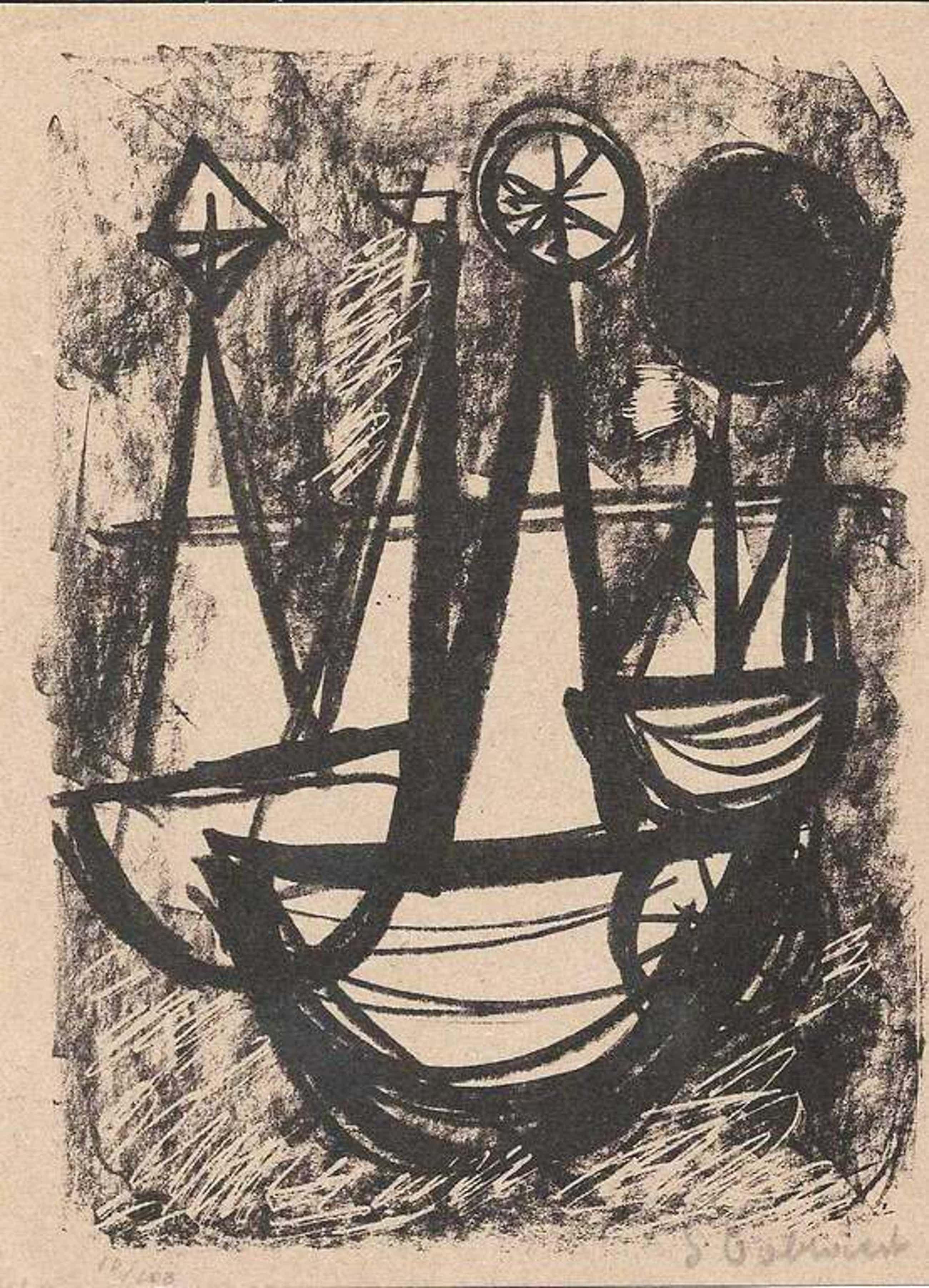 Jan Cobbaert: compositie 2 (litho uit 1952) kopen? Bied vanaf 35!