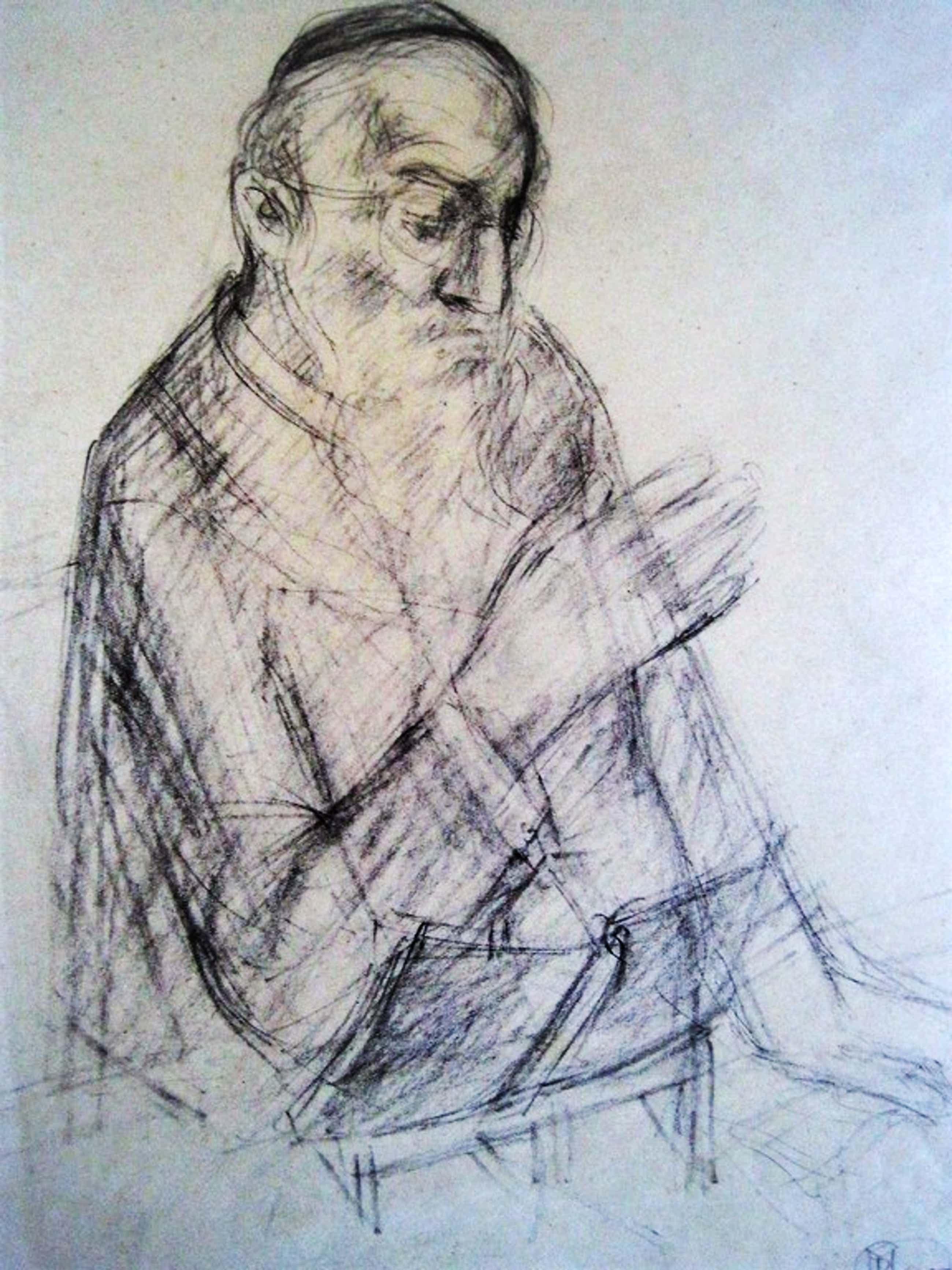 "Bijzonder! Tekening ""Man leest Tora"" van gelauwerde Amsterdams Joodse tekenares  kopen? Bied vanaf 140!"