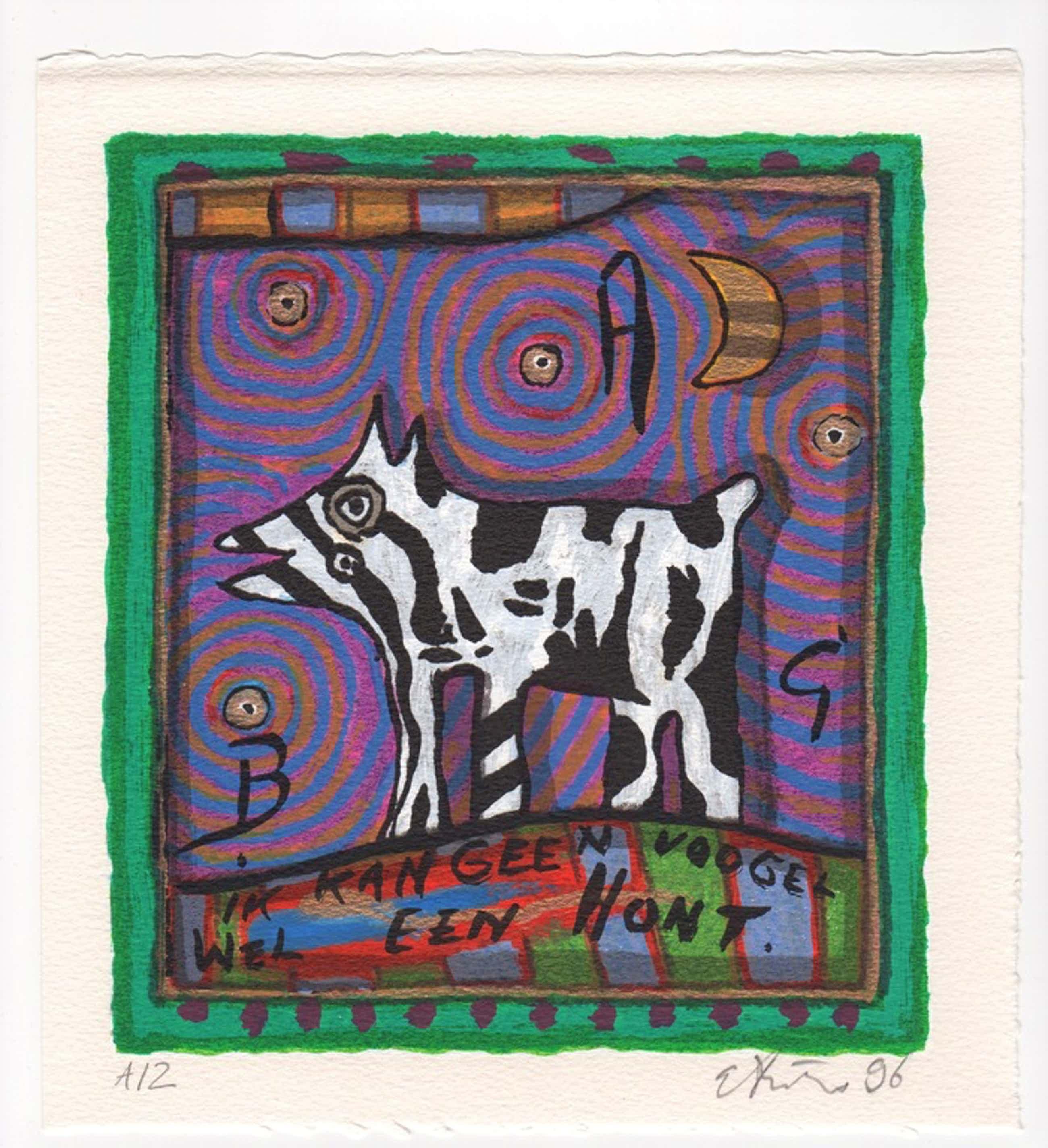 Eric Toebosch - Eric Toebosch, zeefdruk, 'Ik kan geen voogel, wel een hont', 1996 kopen? Bied vanaf 49!