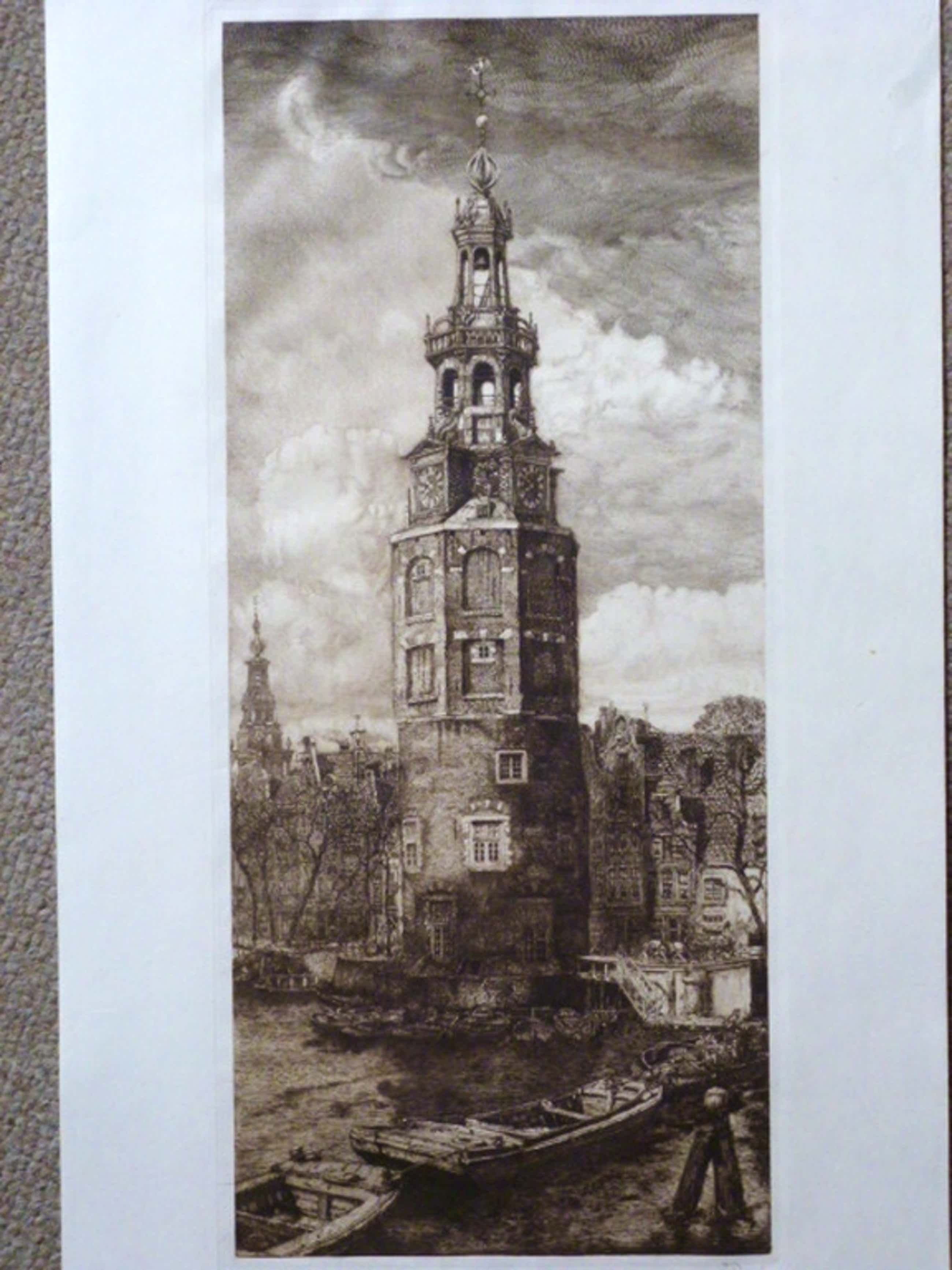 Pieter Dupont - ets - Montelbaanstoren Amsterdam kopen? Bied vanaf 100!