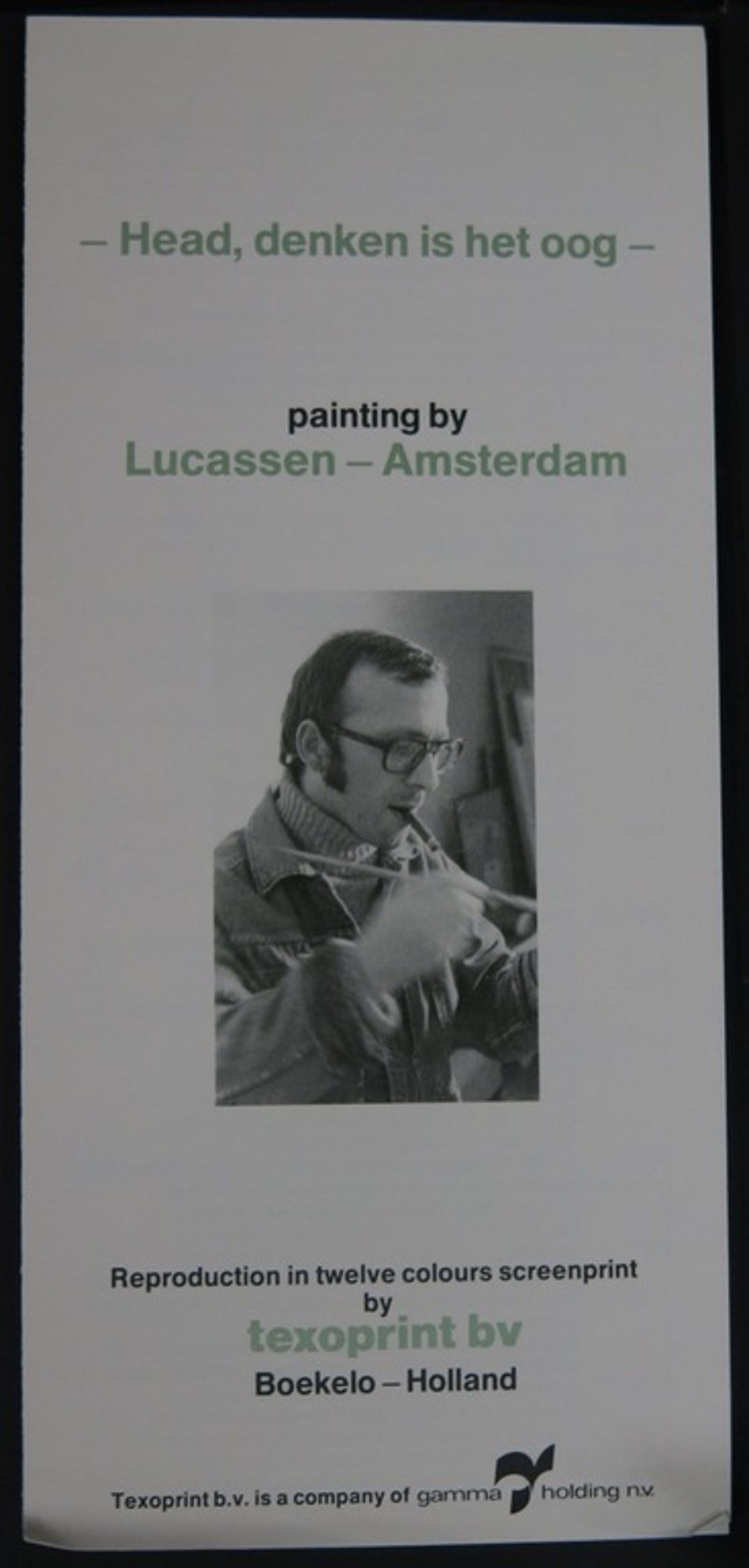Reinier Lucassen: Zeefdruk op katoenzijde, Head, denken is het oog kopen? Bied vanaf 35!