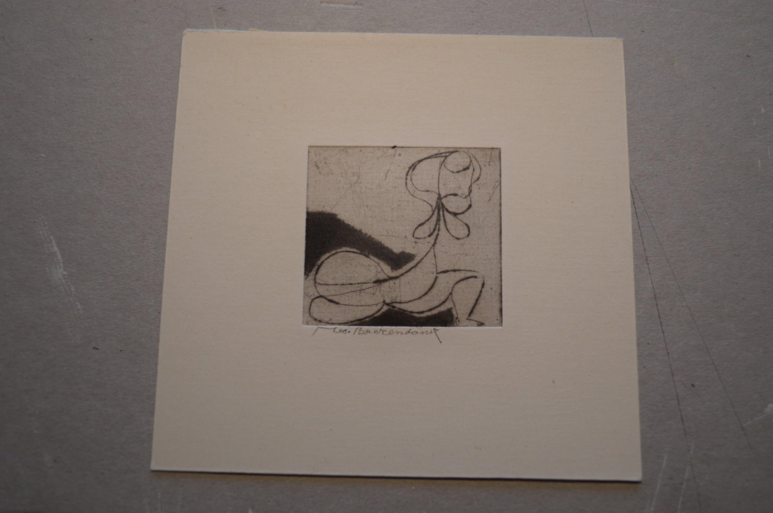 Theo Beerendonk ( 1905-1979) ets, naakt, 1970, 5 x 5 ( 12x12 )  kopen? Bied vanaf 20!