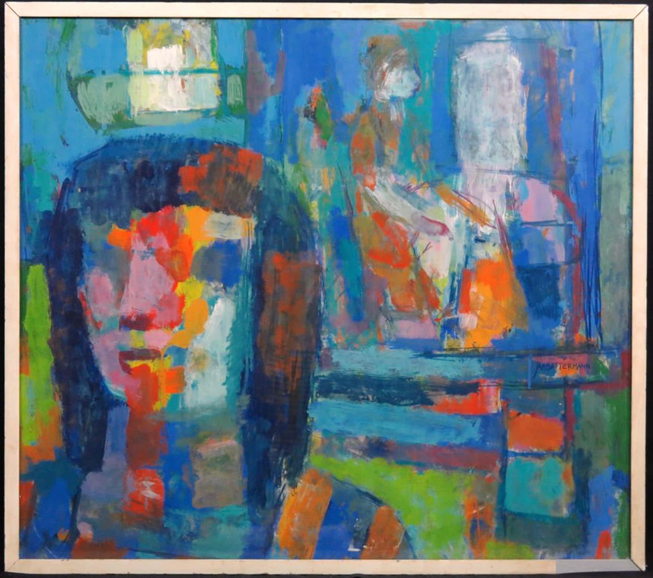 Jan Battermann: Acryl op papier, Twee figuren - Ingelijst (groot) kopen? Bied vanaf 200!