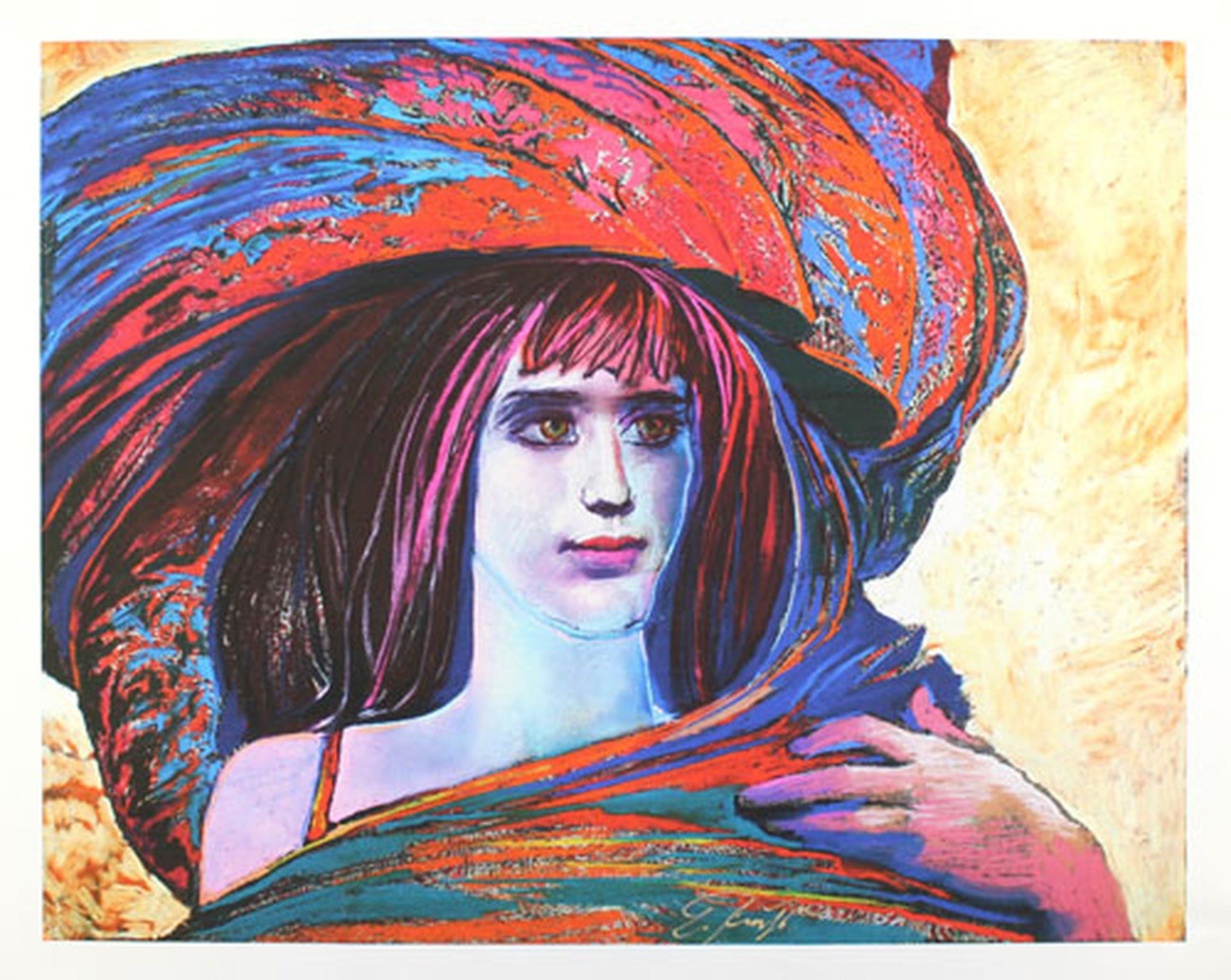 ERNST FUCHS - Prachtige kleuren Giclee op DOEK - Meisje met Grote Hoed'' Handgesigneerd, Genummerd 77 / 300 en Gedateerd 2012  kopen? Bied vanaf 125!