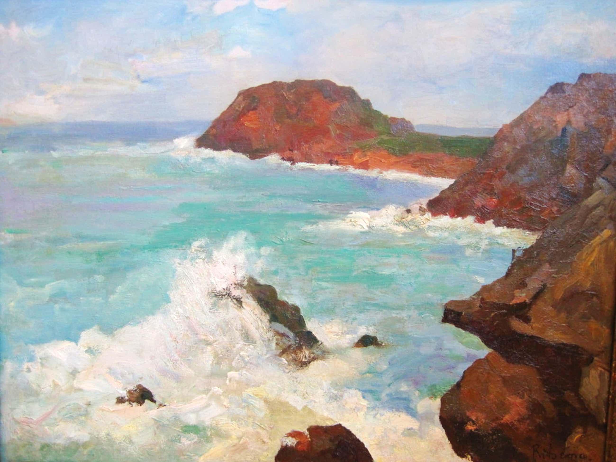 """indrukwekkend olieverf """"Atlantisch kustgezicht"""" van Jacob C. Ritsema (1869-1943) kopen? Bied vanaf 220!"""