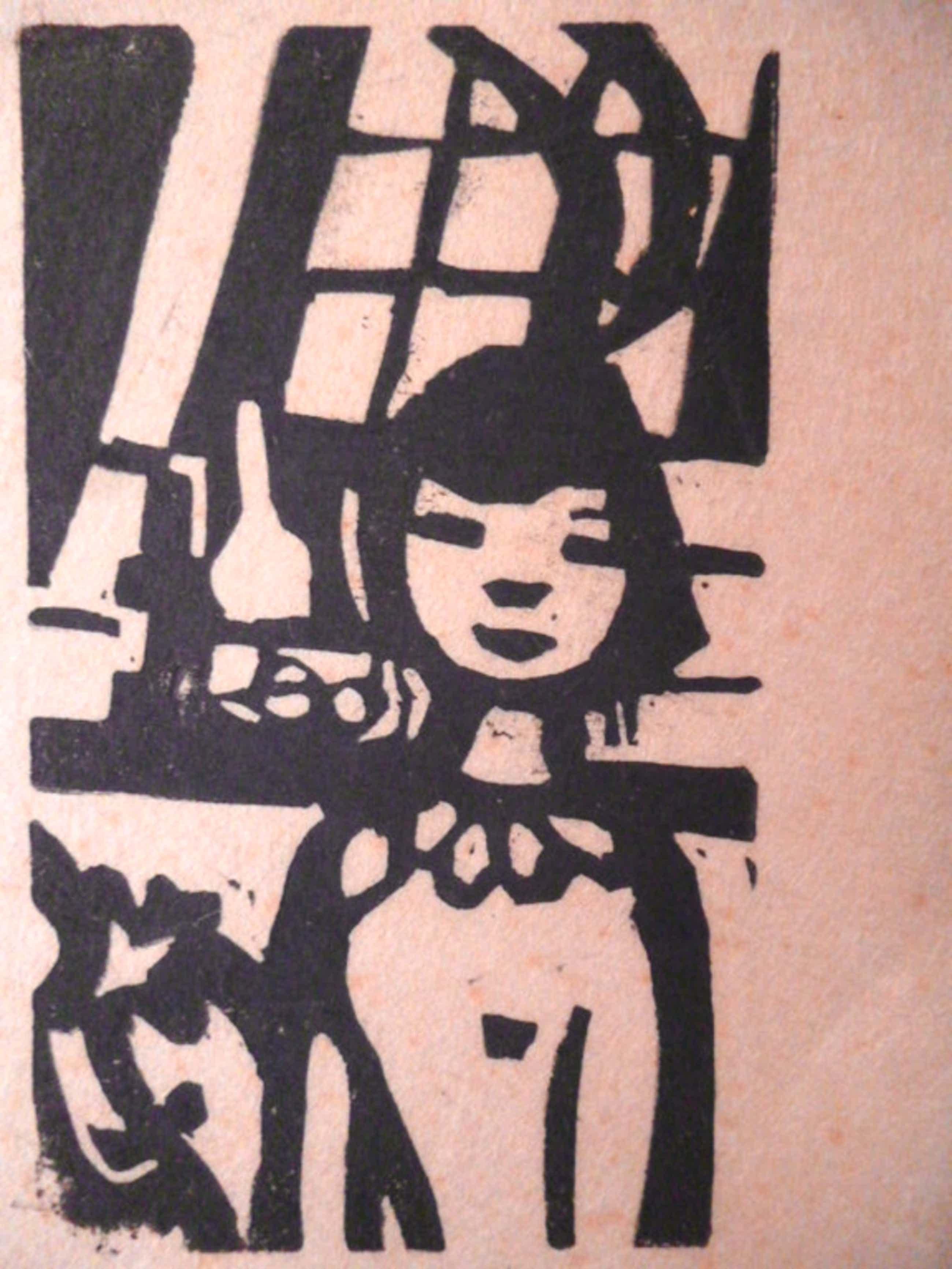 Otto B. de Kat - linosnede - Meisjesportret kopen? Bied vanaf 35!