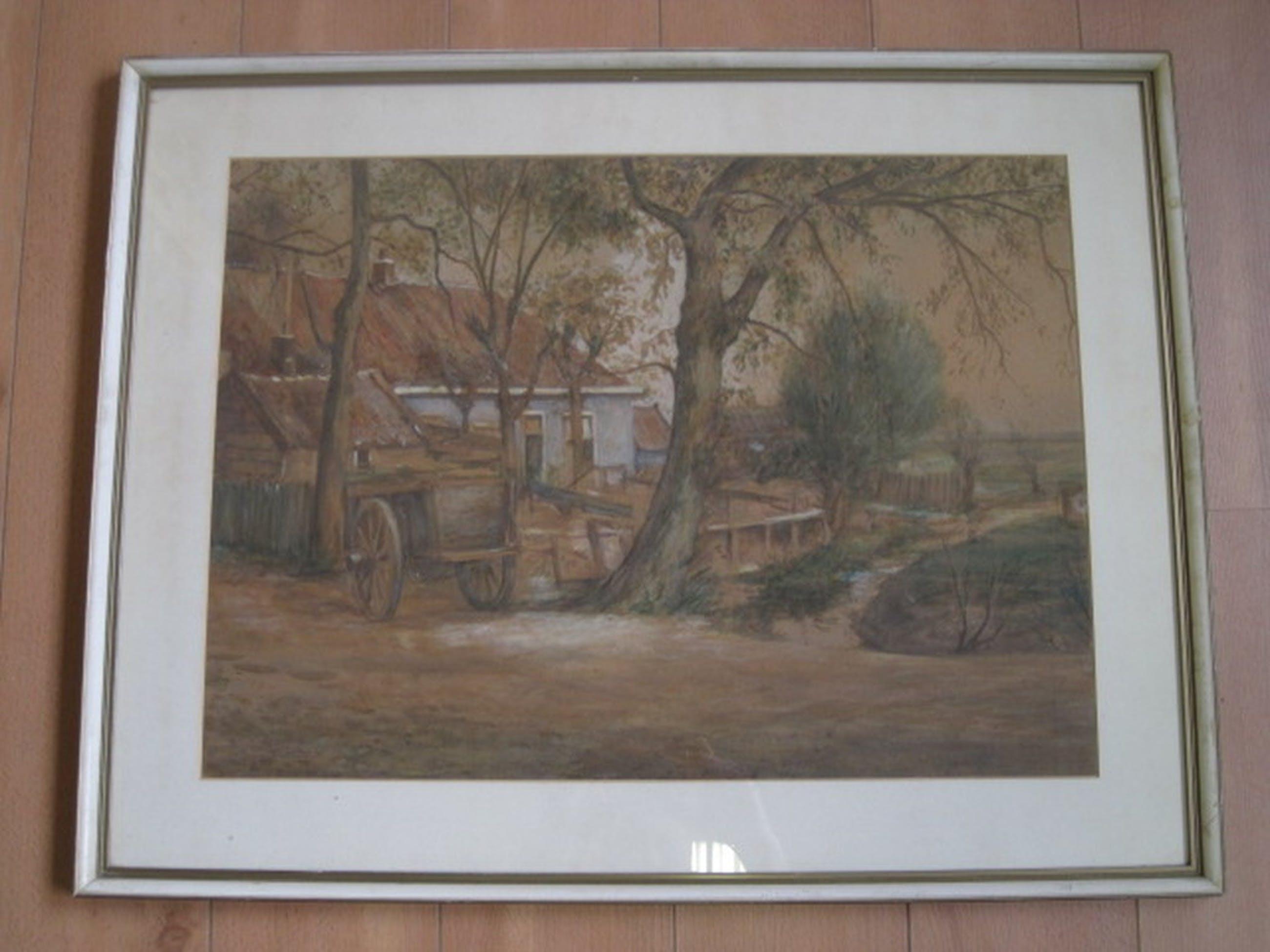 Dirk v Haaren 1878-1953 Amsterdam boerderij bij Sloterdijk pasteltekening ca1920 kopen? Bied vanaf 1!