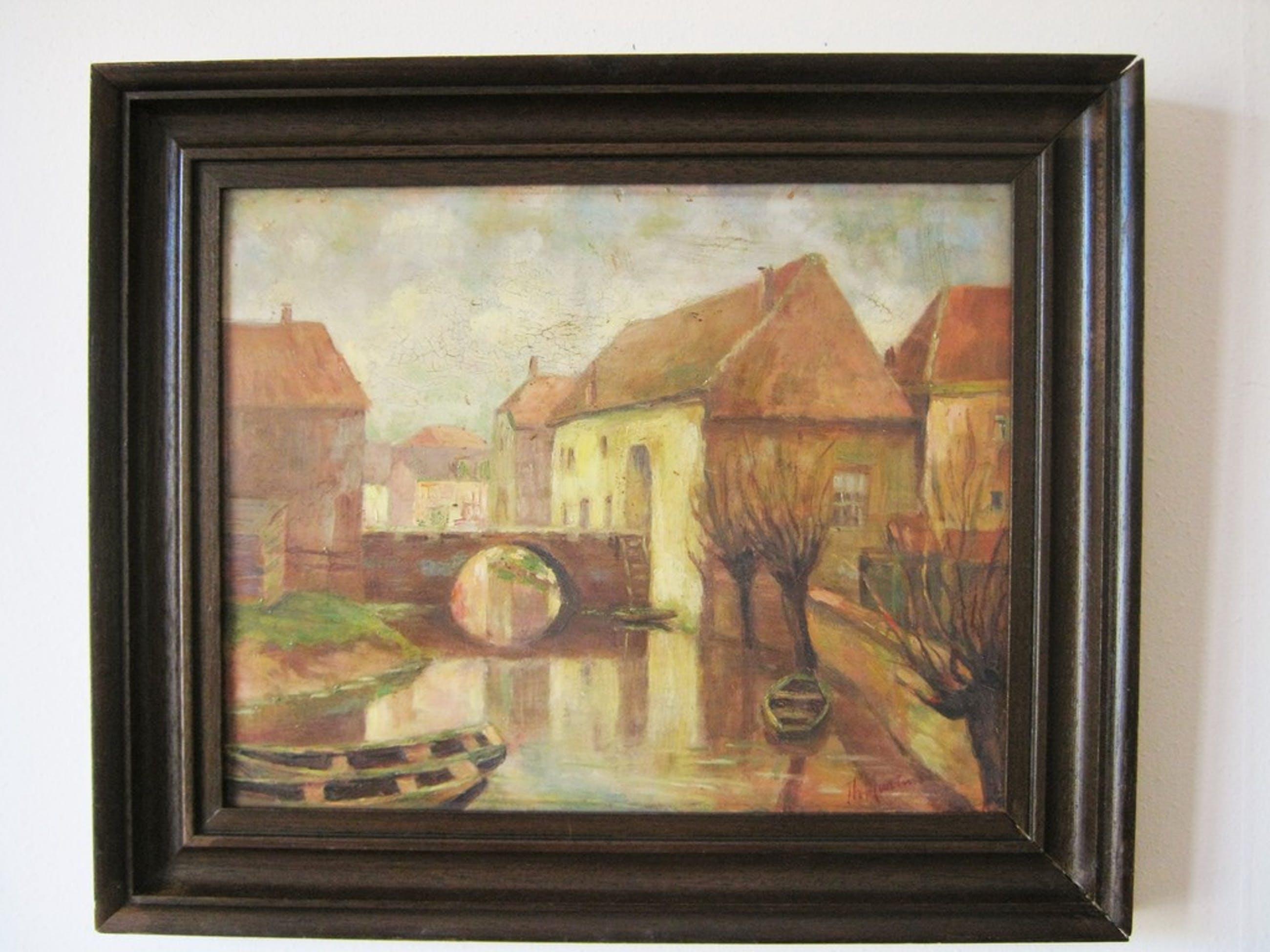 Th. Martens - Olieverfschilderij - Stadsgracht kopen? Bied vanaf 35!