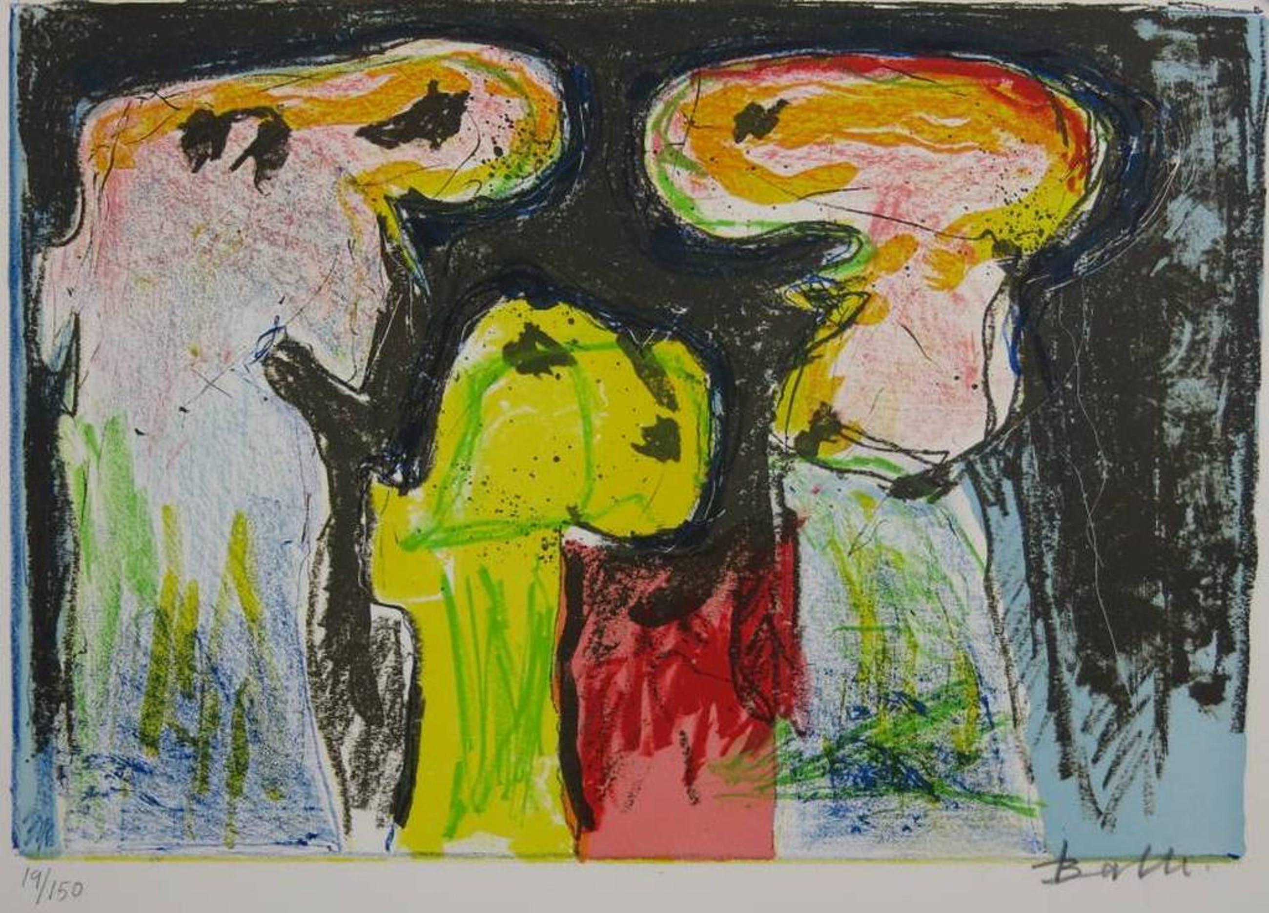 Mogens Balle: Kleurenlitho, Drie Figuren (CoBrA) kopen? Bied vanaf 80!