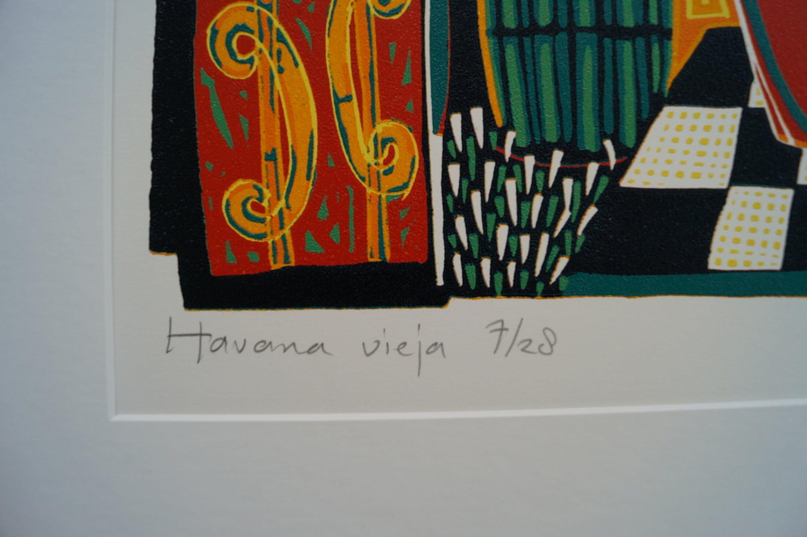 Diana van Hal - gesigneerde linosnede - Havana Vieja kopen? Bied vanaf 35!