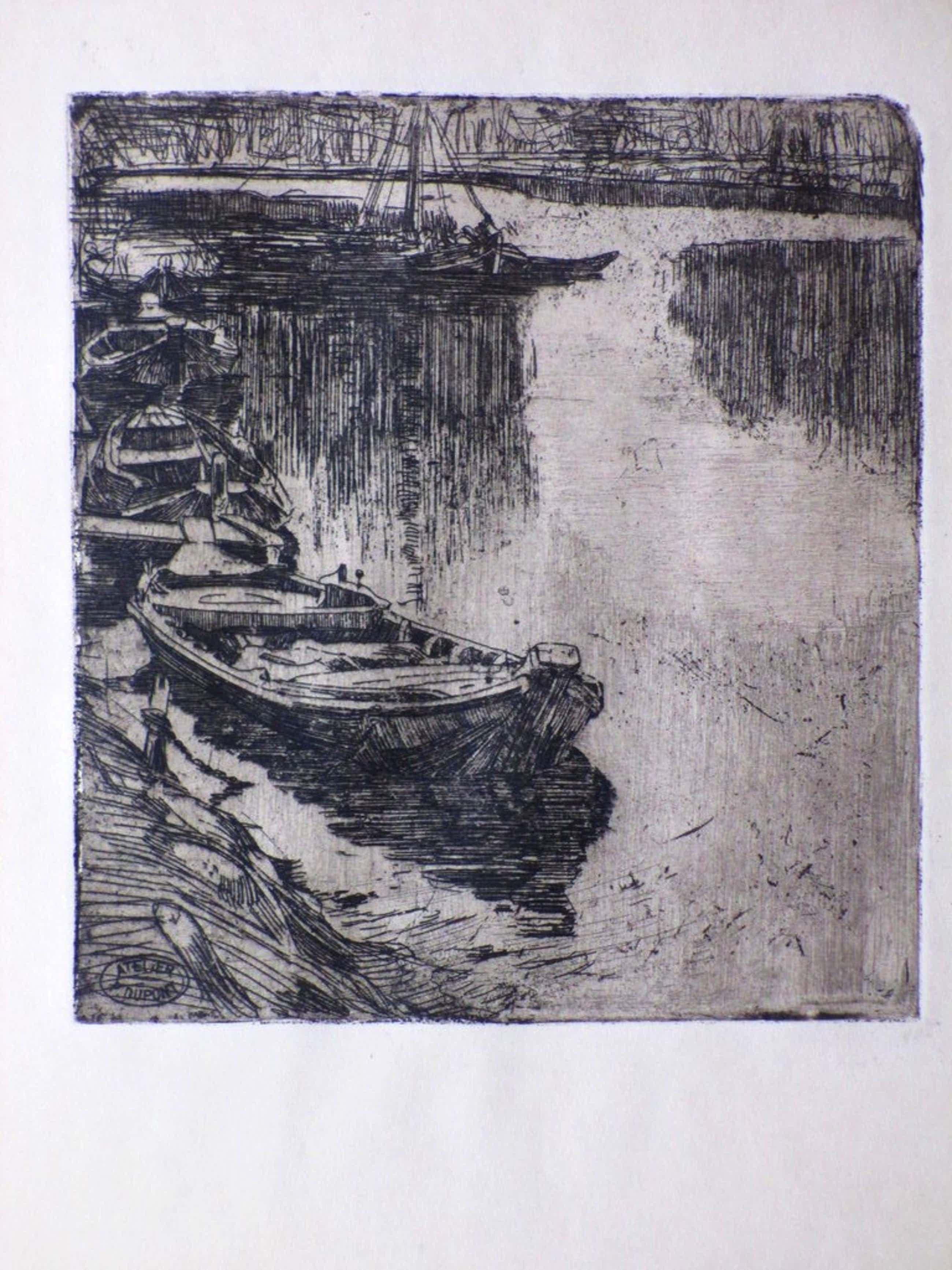 Pieter Dupont, Booten, Ets op zink 1895 kopen? Bied vanaf 85!