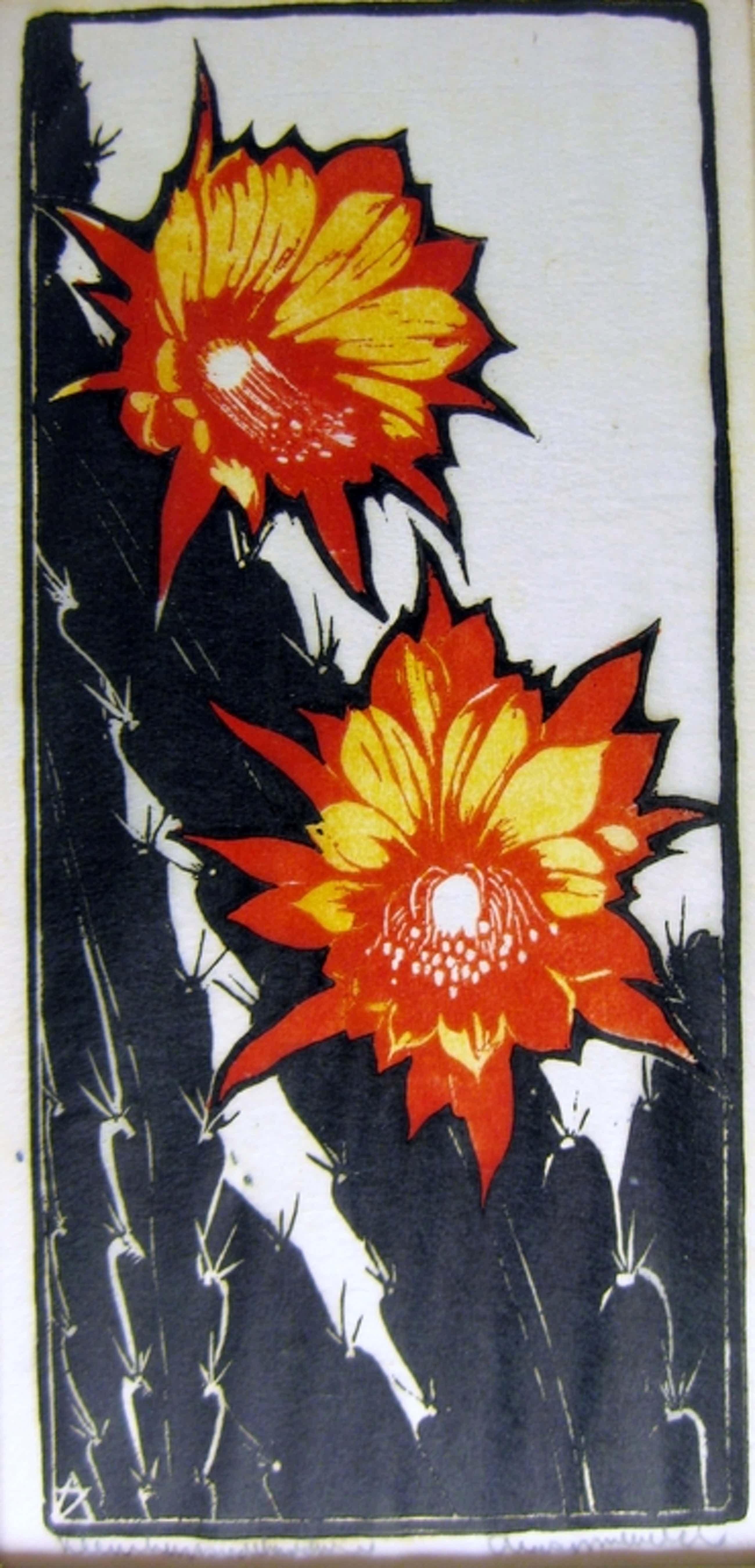 Arie Zonneveld (1905-1941) - Kleurenhoutsnede bloeiende cactus kopen? Bied vanaf 250!