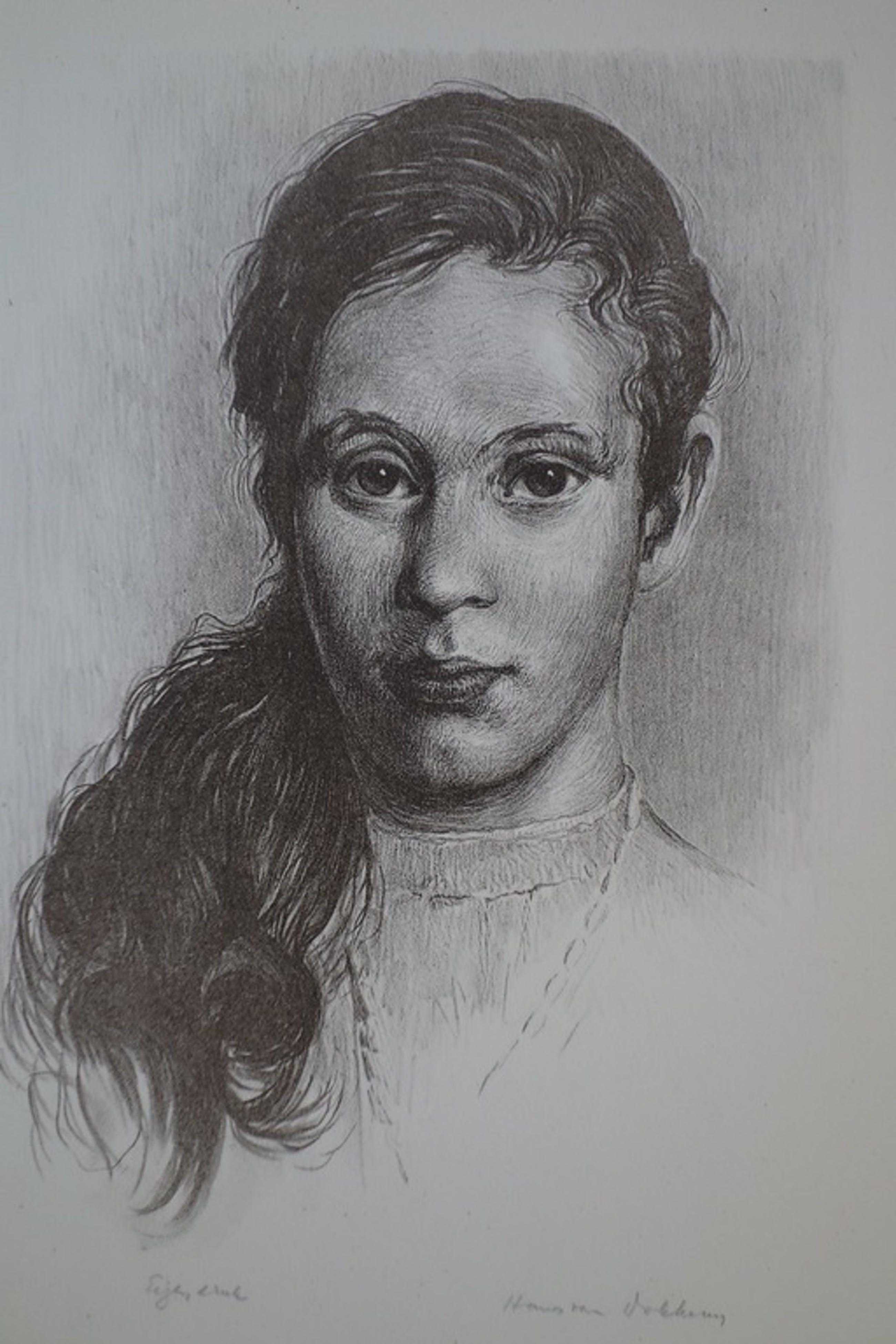 Hans van Dokkum, meisjesportret, litho in sepiatint. kopen? Bied vanaf 1!