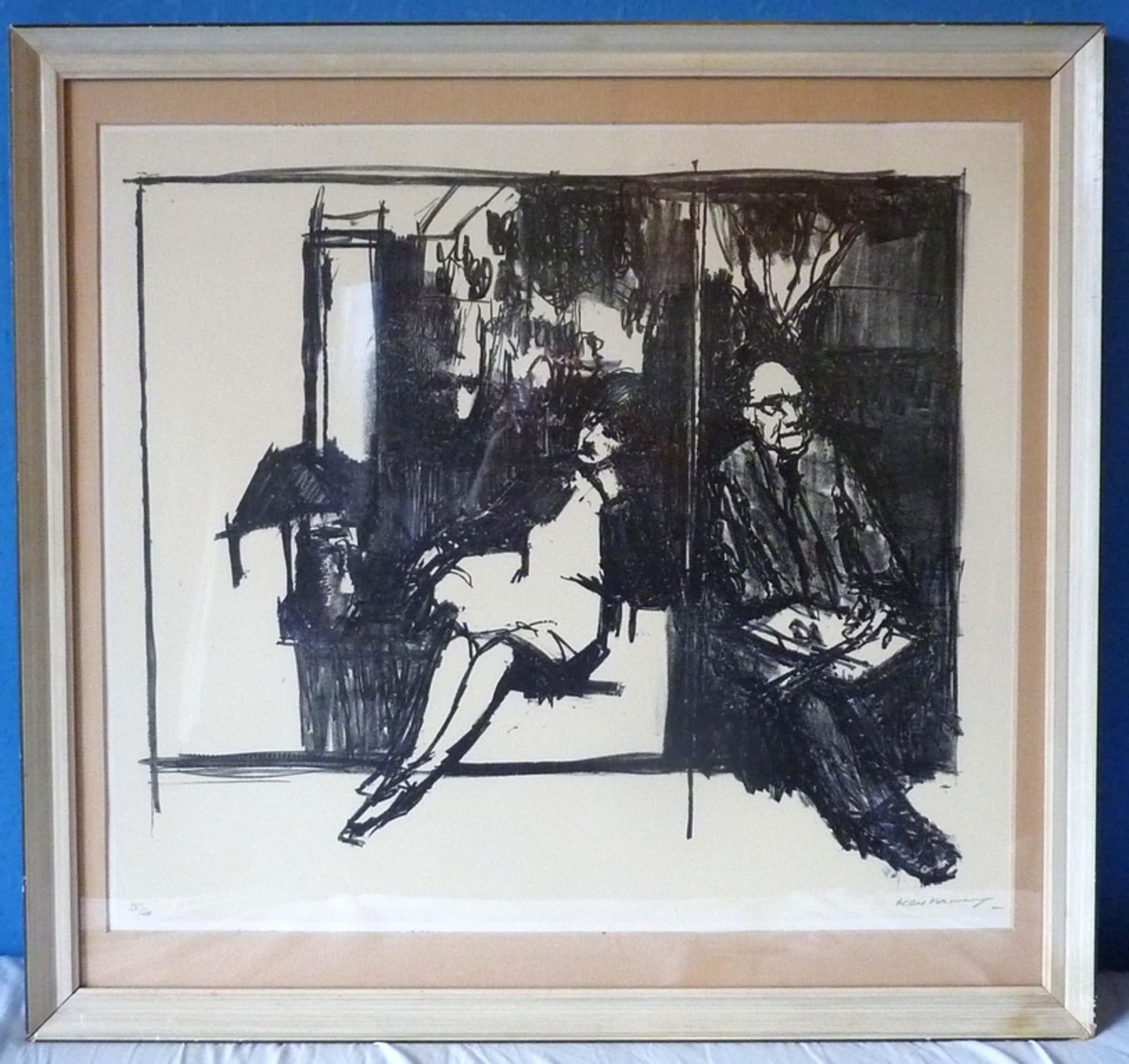 "KEES VERWEY Ingelijste Litho ""Kees en Jeanne In Het Atelier"" 1976 + atelier boek kopen? Bied vanaf 60!"