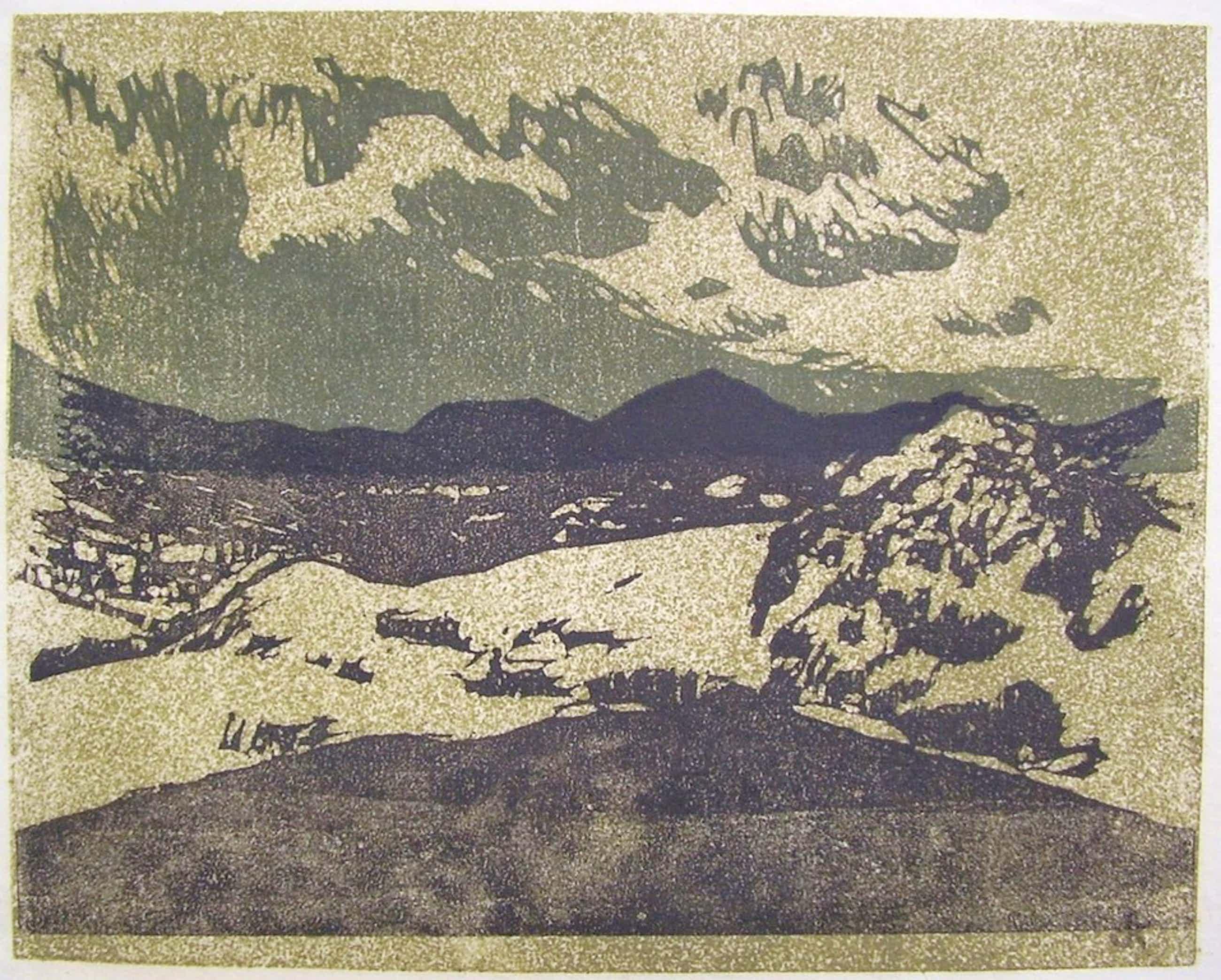 Otto B. de Kat Monts du Cantal linosnede (uit collectie Han Wezelaar) 1970 kopen? Bied vanaf 60!