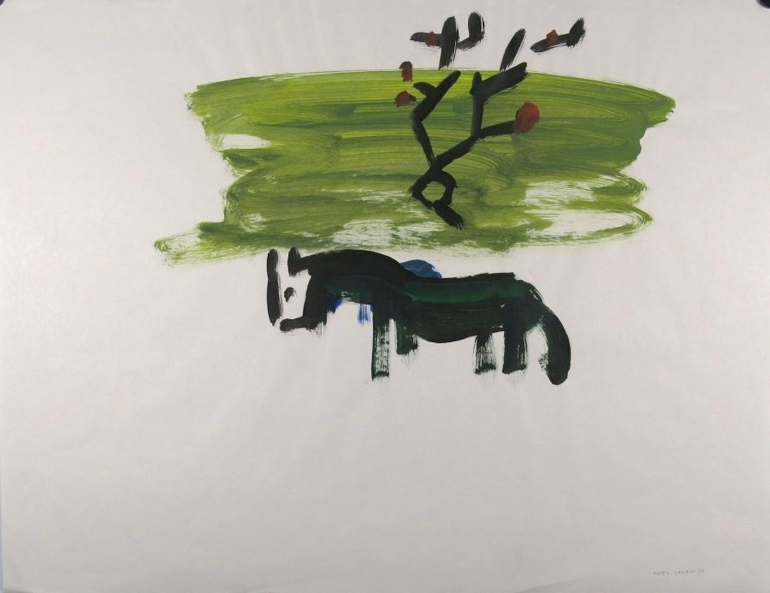 Ruven Levav: Acryl op papier, a horse in the meadow kopen? Bied vanaf 1!
