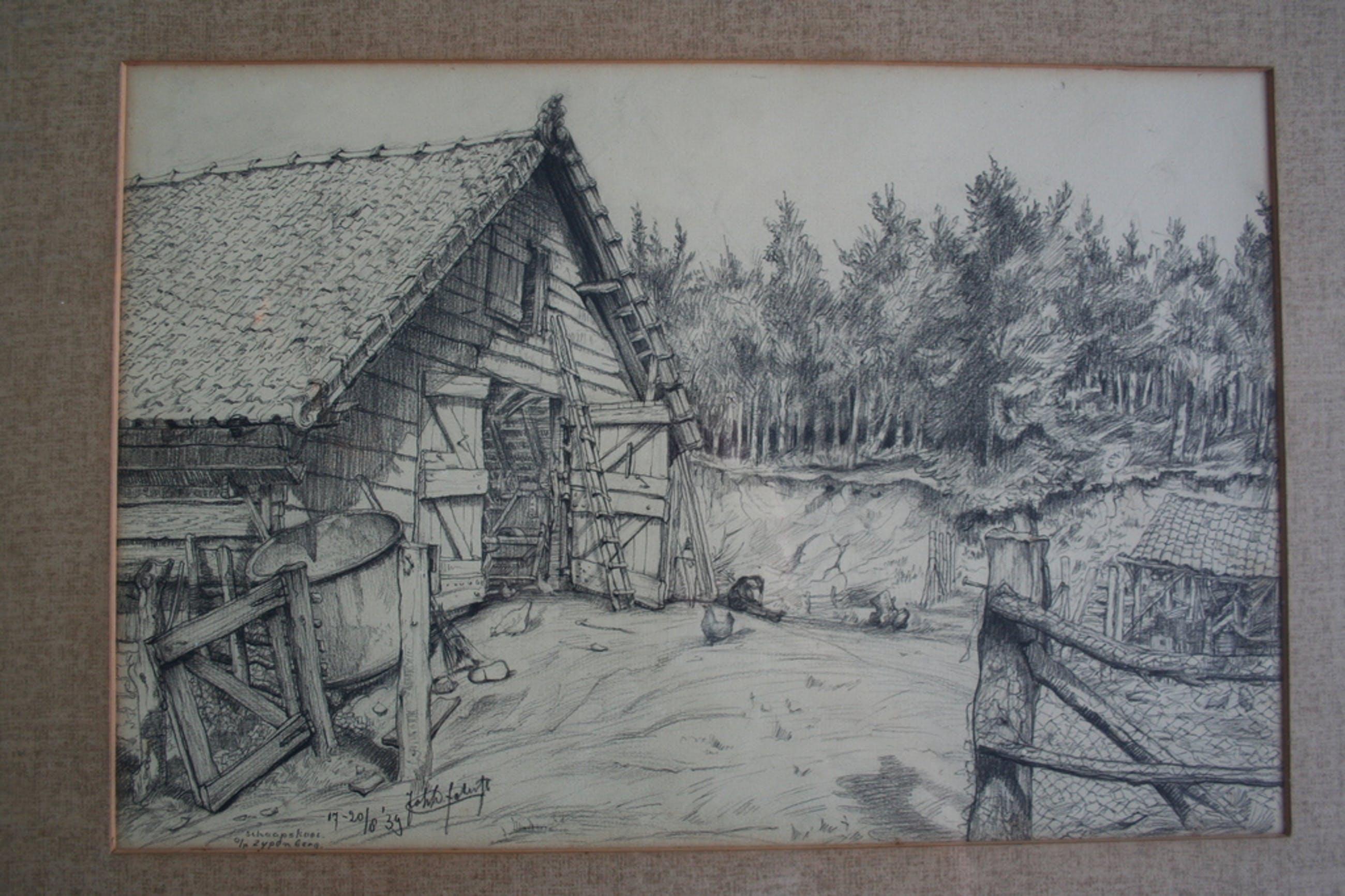 J.D. SCHERFT (1891-1969), tekening, schaapskooi o/d Zijpenberg kopen? Bied vanaf 60!
