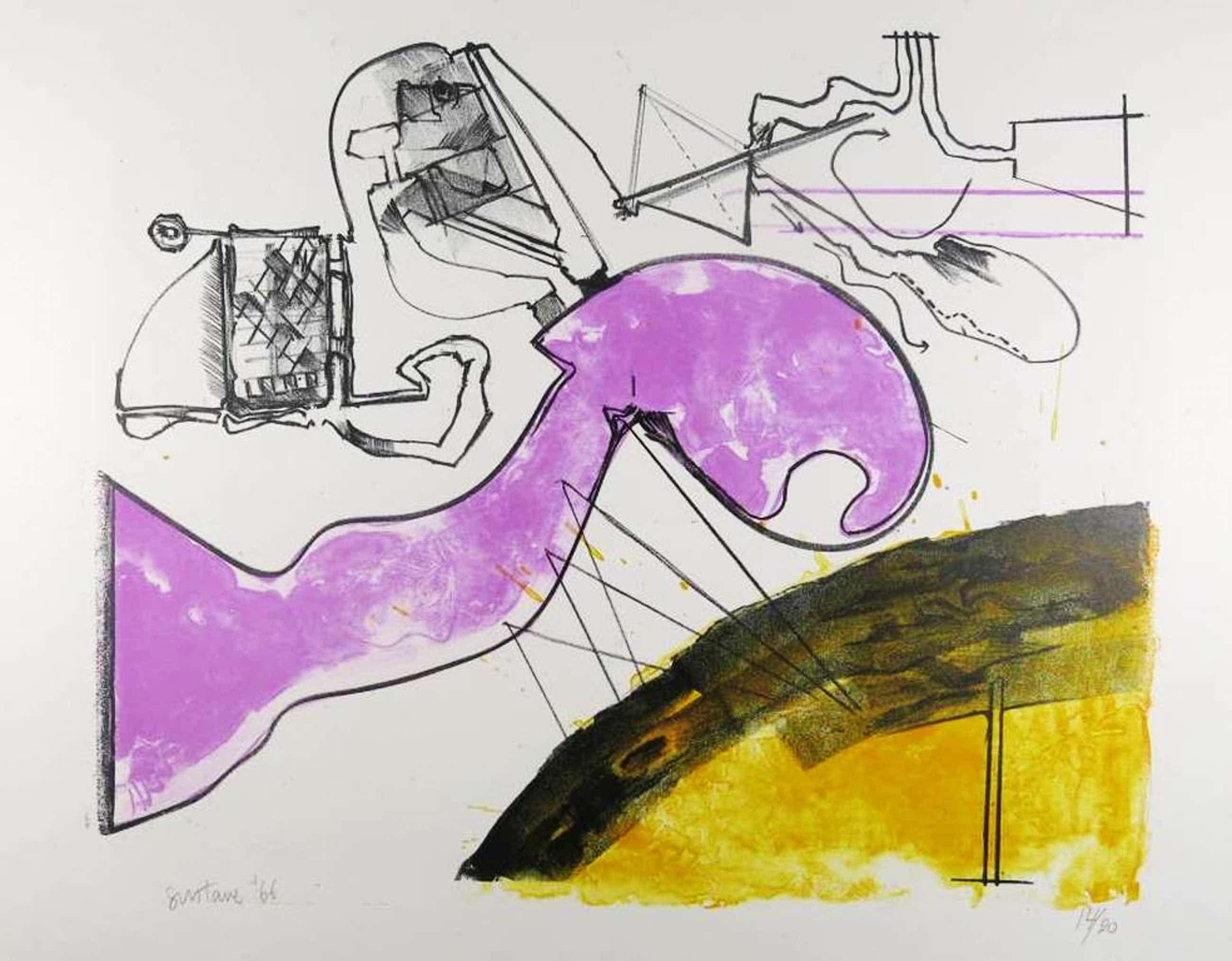 Gustave Asselbergs: Litho, Compositie in paars en geel kopen? Bied vanaf 50!